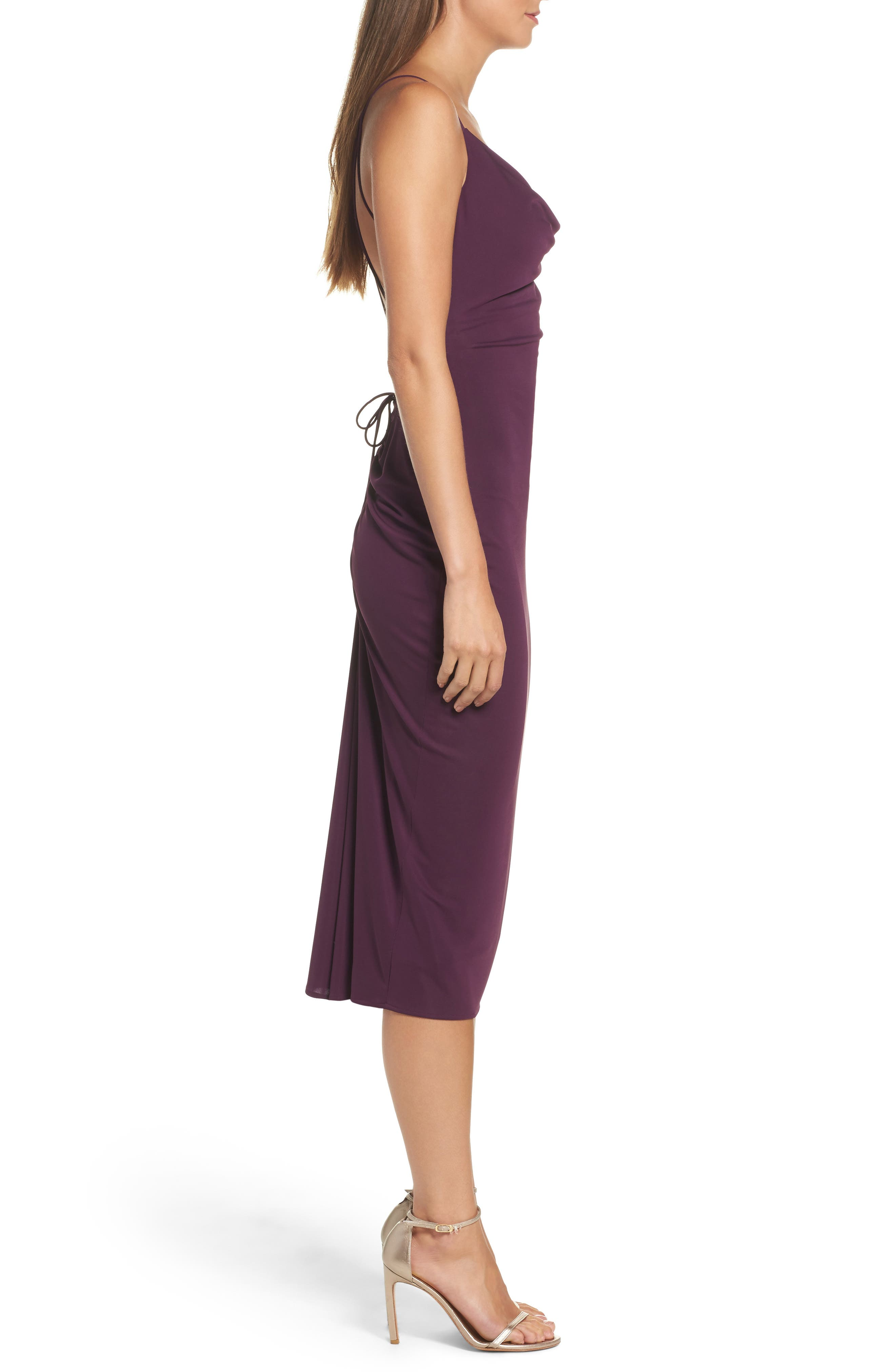 Cowl Neck Midi Dress,                             Alternate thumbnail 3, color,                             935