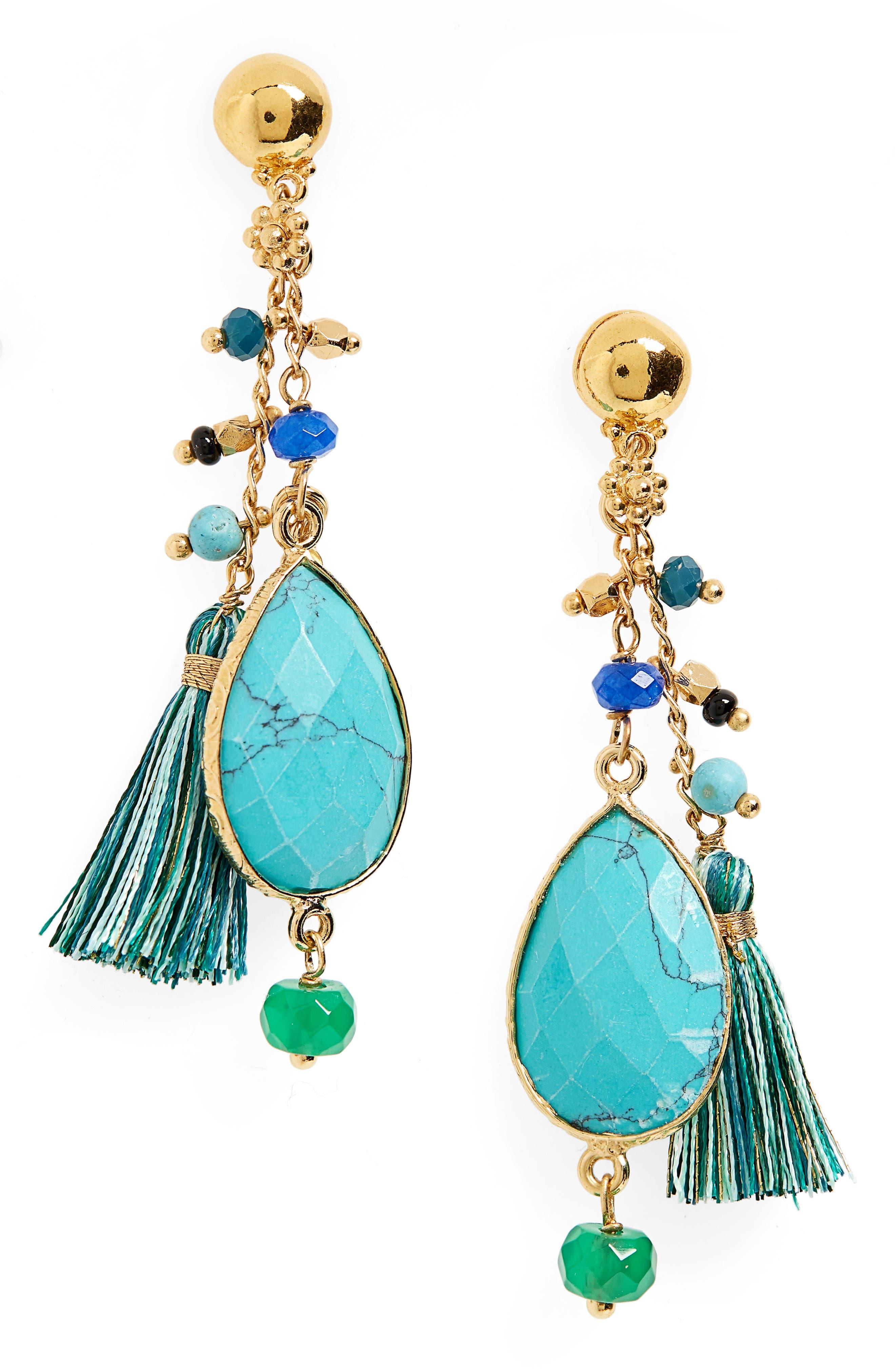 Serti Pondicherie Earrings,                         Main,                         color, AQUA