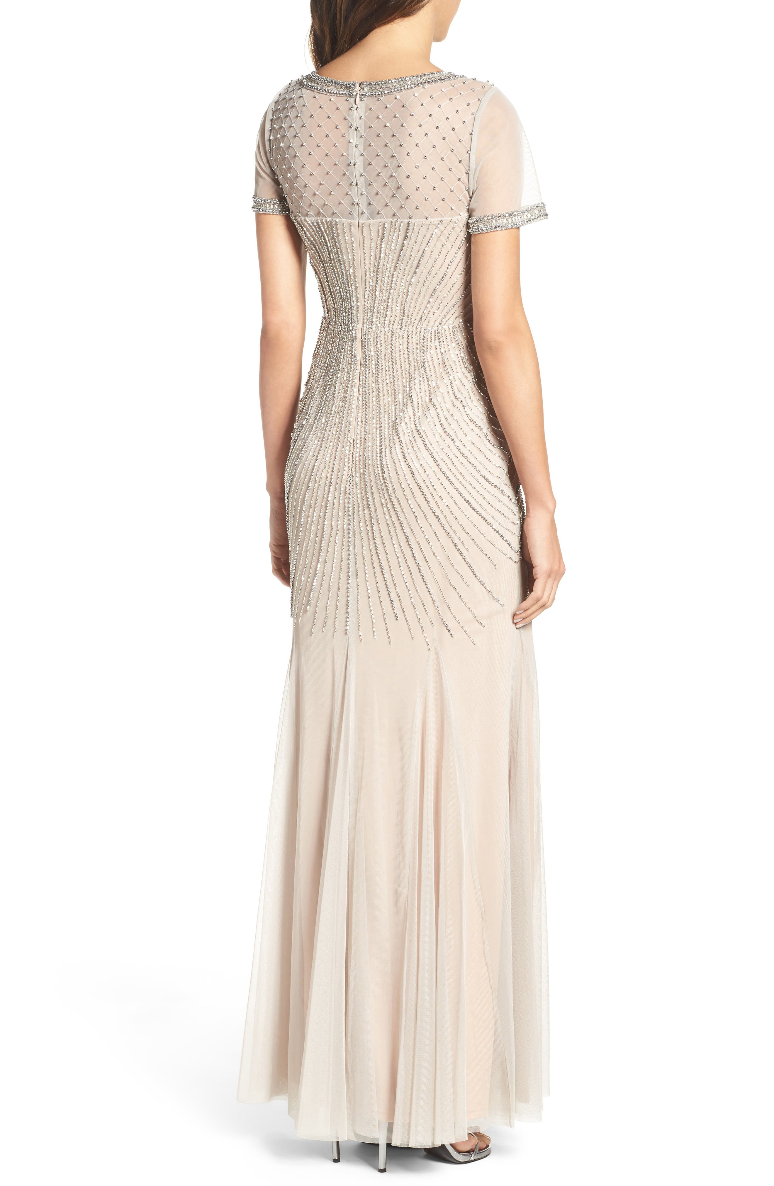 Beaded Mesh Gown,                             Alternate thumbnail 2, color,                             250