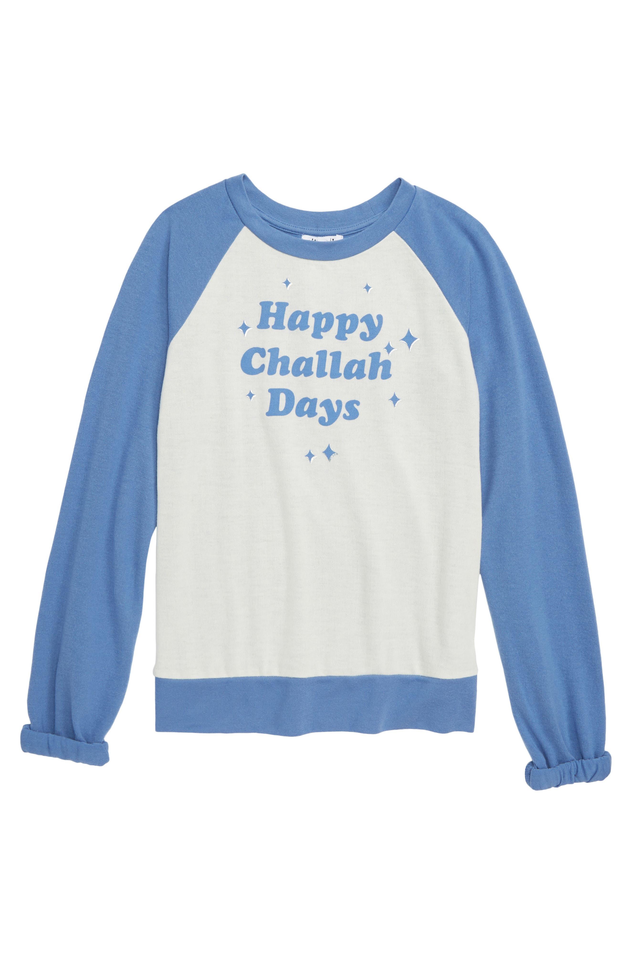 Happy Challah Days Baseball Tee,                             Main thumbnail 1, color,                             BLUE/ IVORY