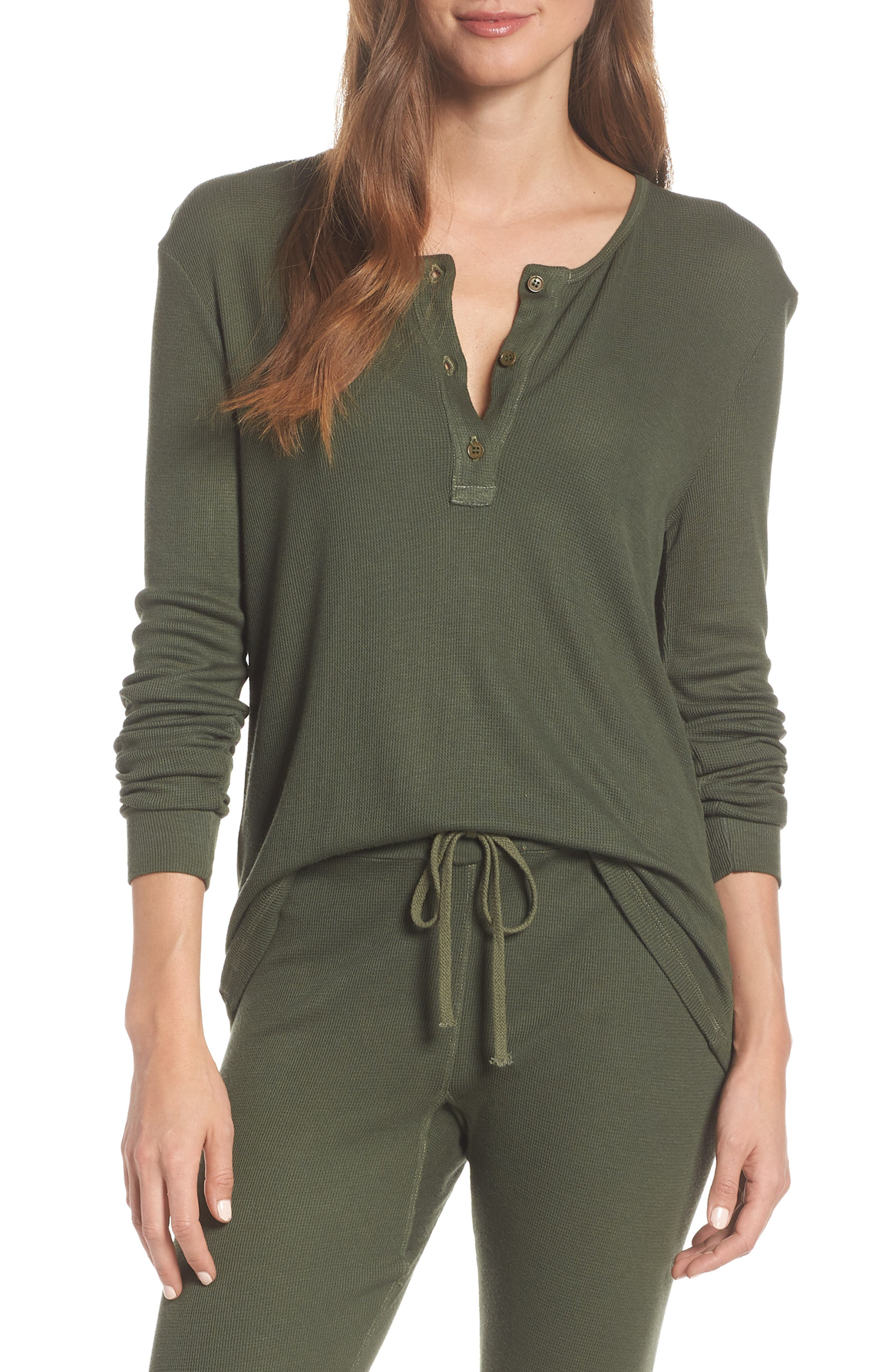 LACAUSA Chalet Thermal Henley in Cypress