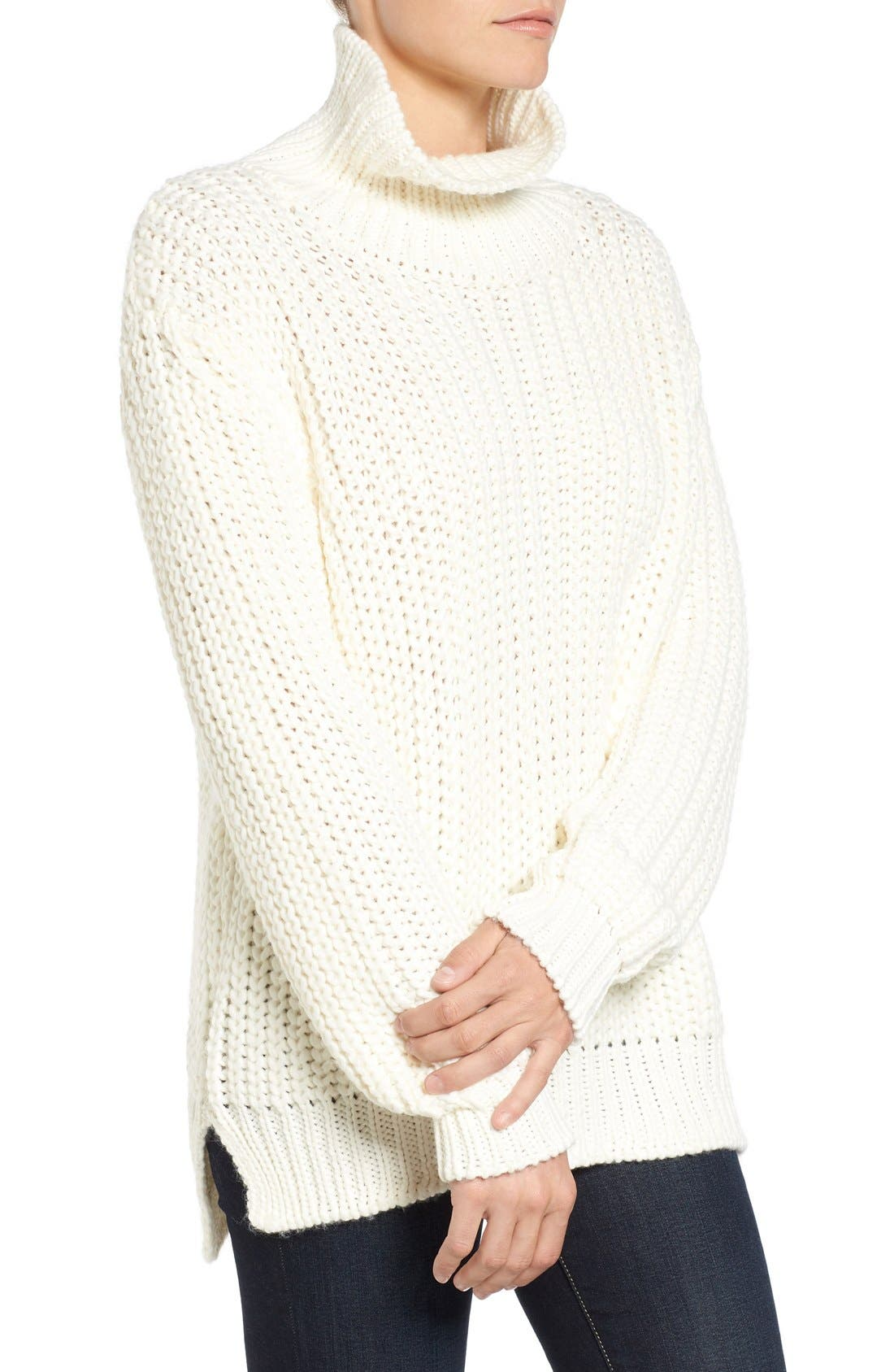 Knit Funnel Neck Sweater,                             Alternate thumbnail 3, color,                             907