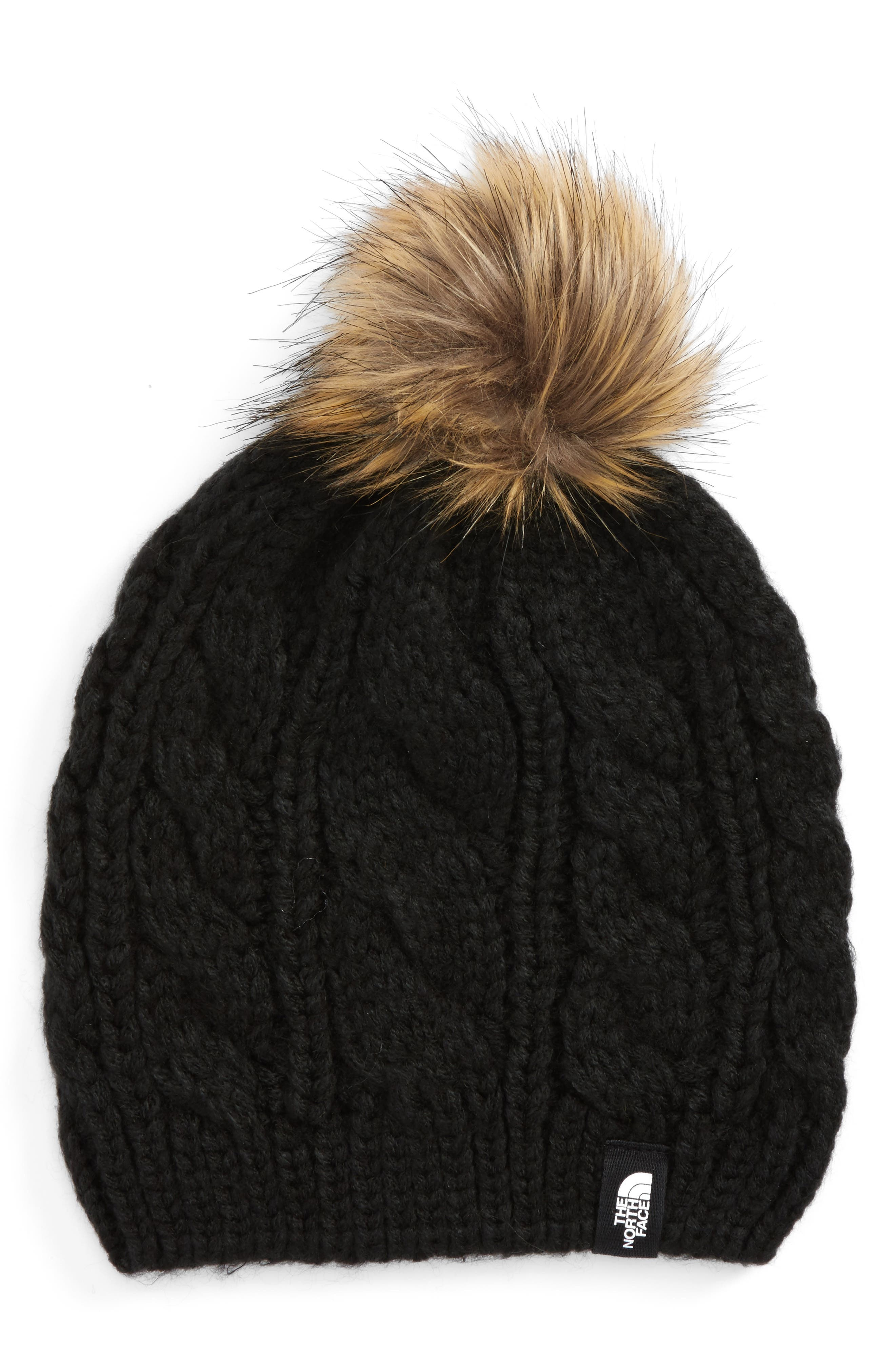 Triple Cable Beanie with Faux Fur Pom,                             Main thumbnail 1, color,                             001