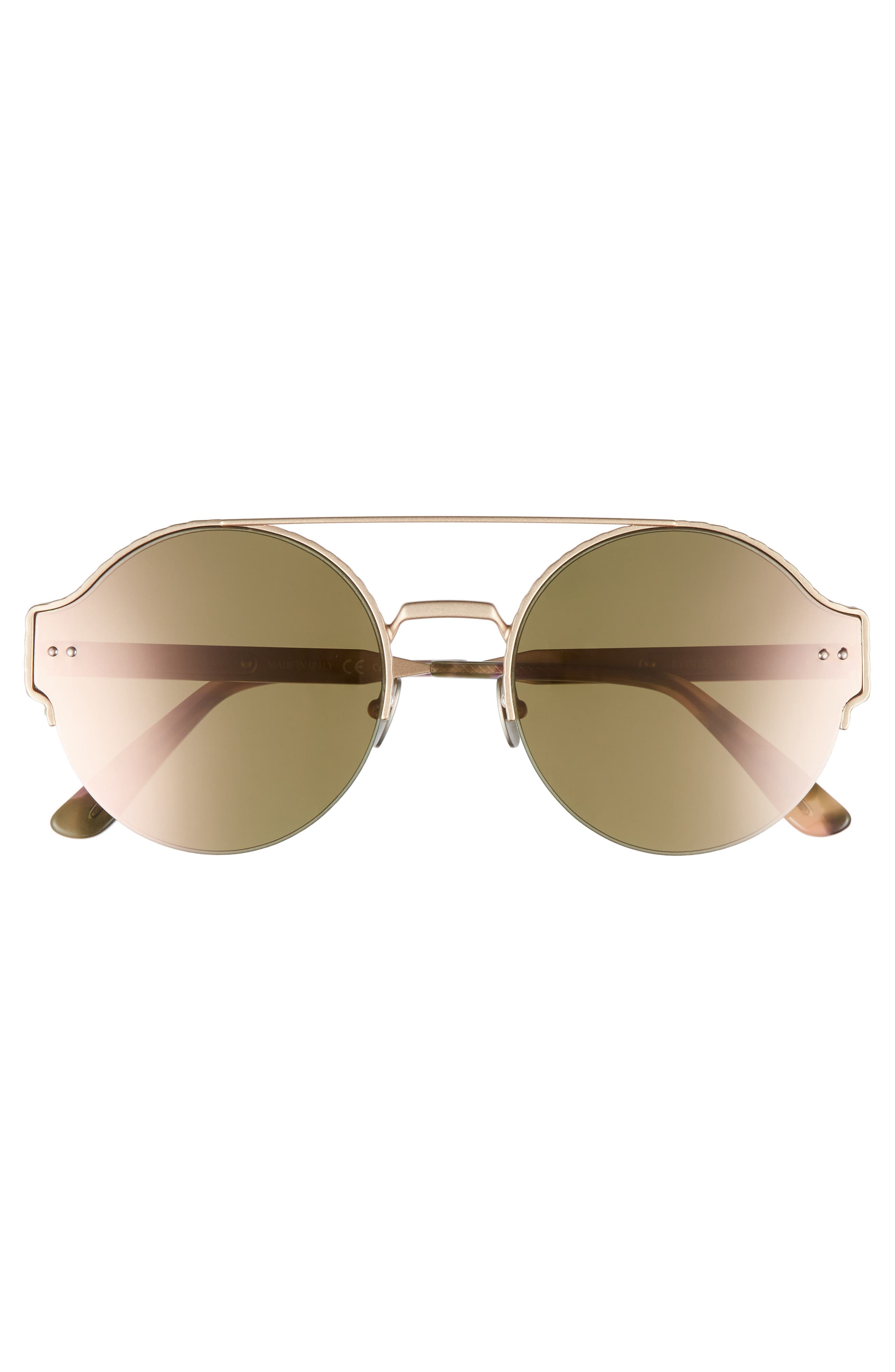 54mm Round Semi-Rimless Sunglasses,                             Alternate thumbnail 9, color,
