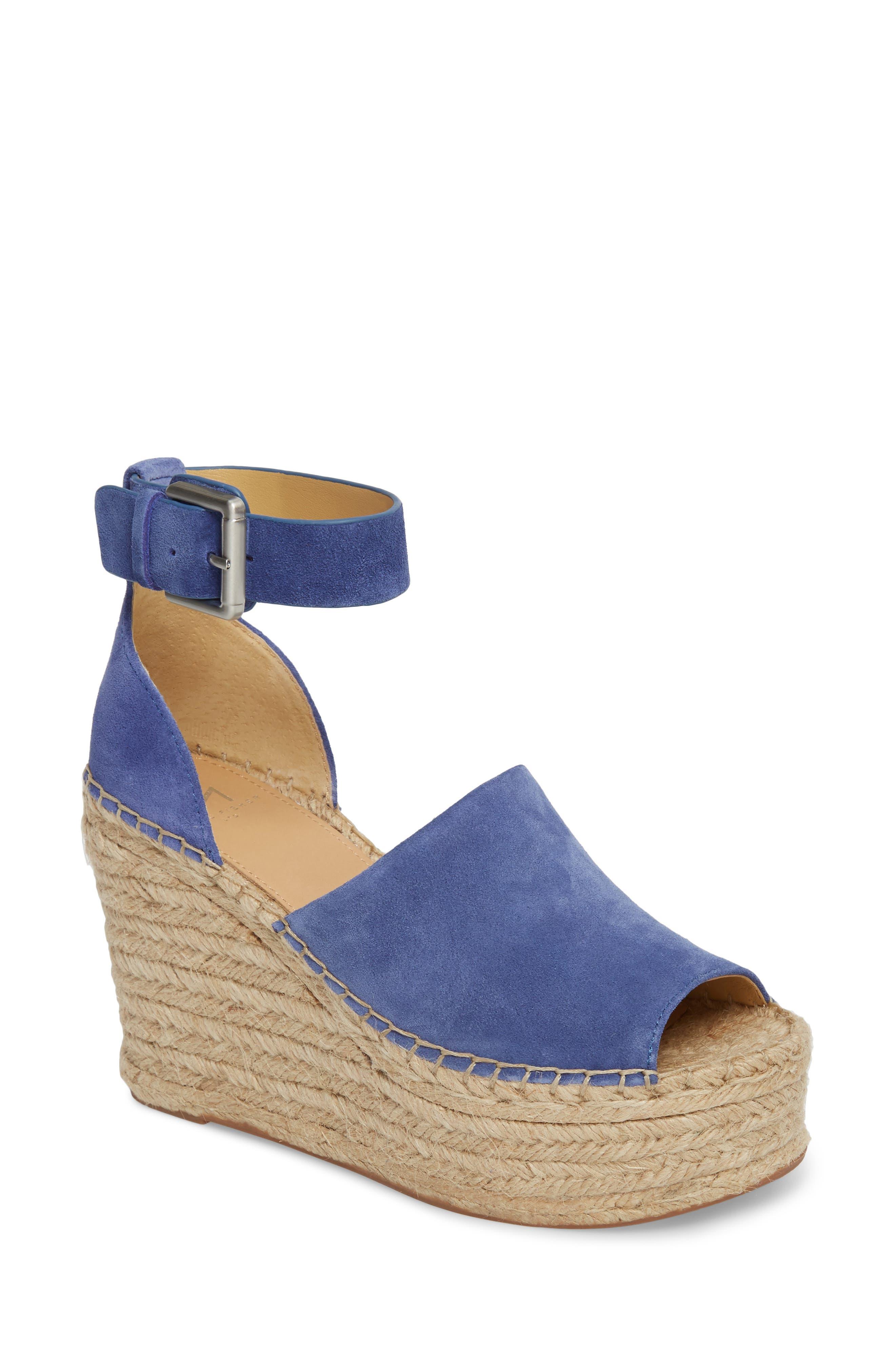Adalyn Espadrille Wedge Sandal,                             Main thumbnail 1, color,                             BLUE SUEDE