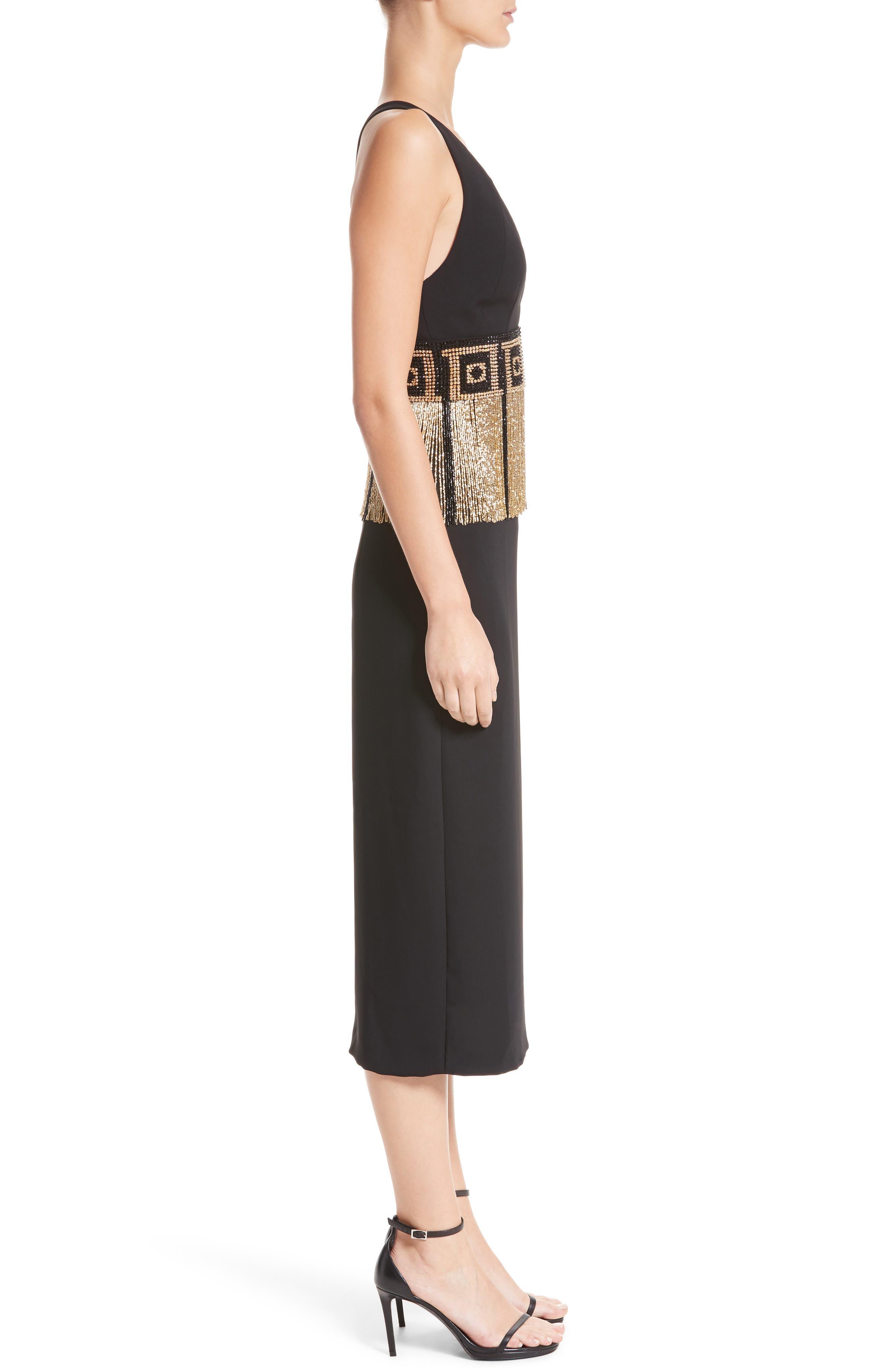 Beaded Fringe Waist Dress,                             Alternate thumbnail 3, color,