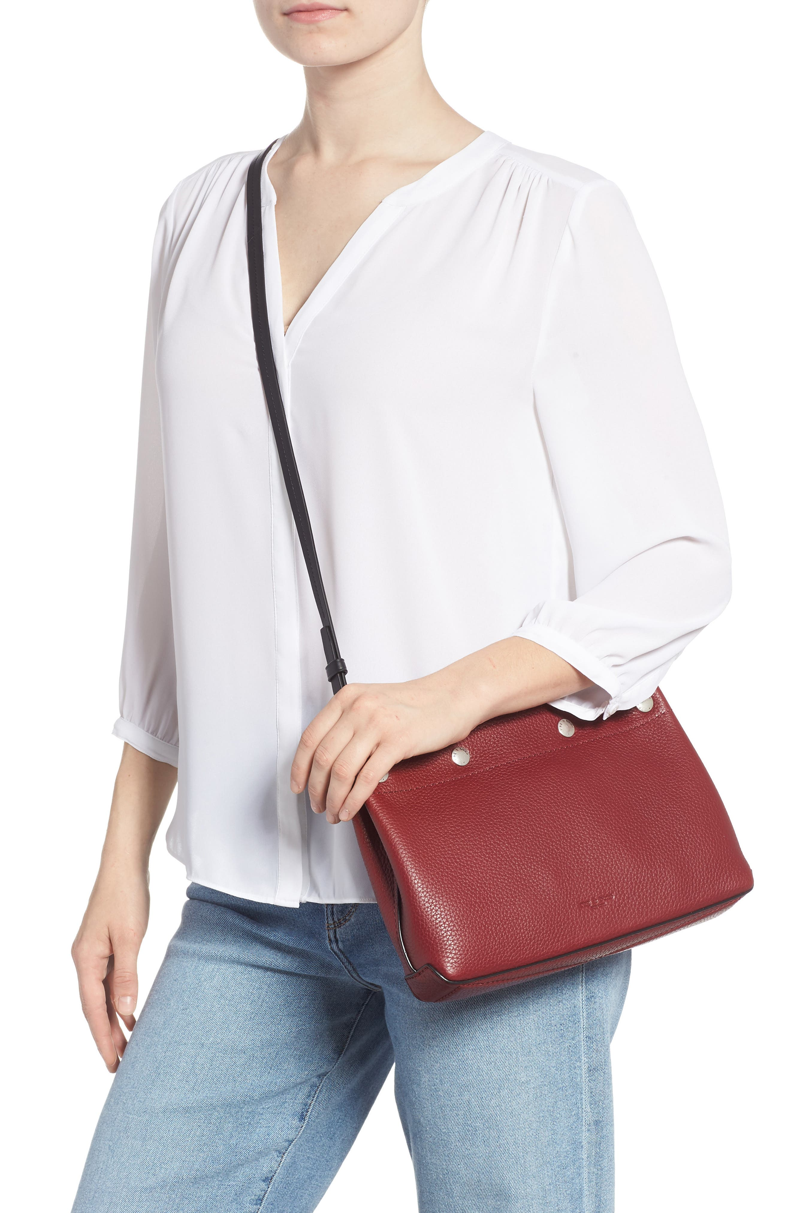 Compass Leather Crossbody Bag,                         Main,                         color, BIKING RED