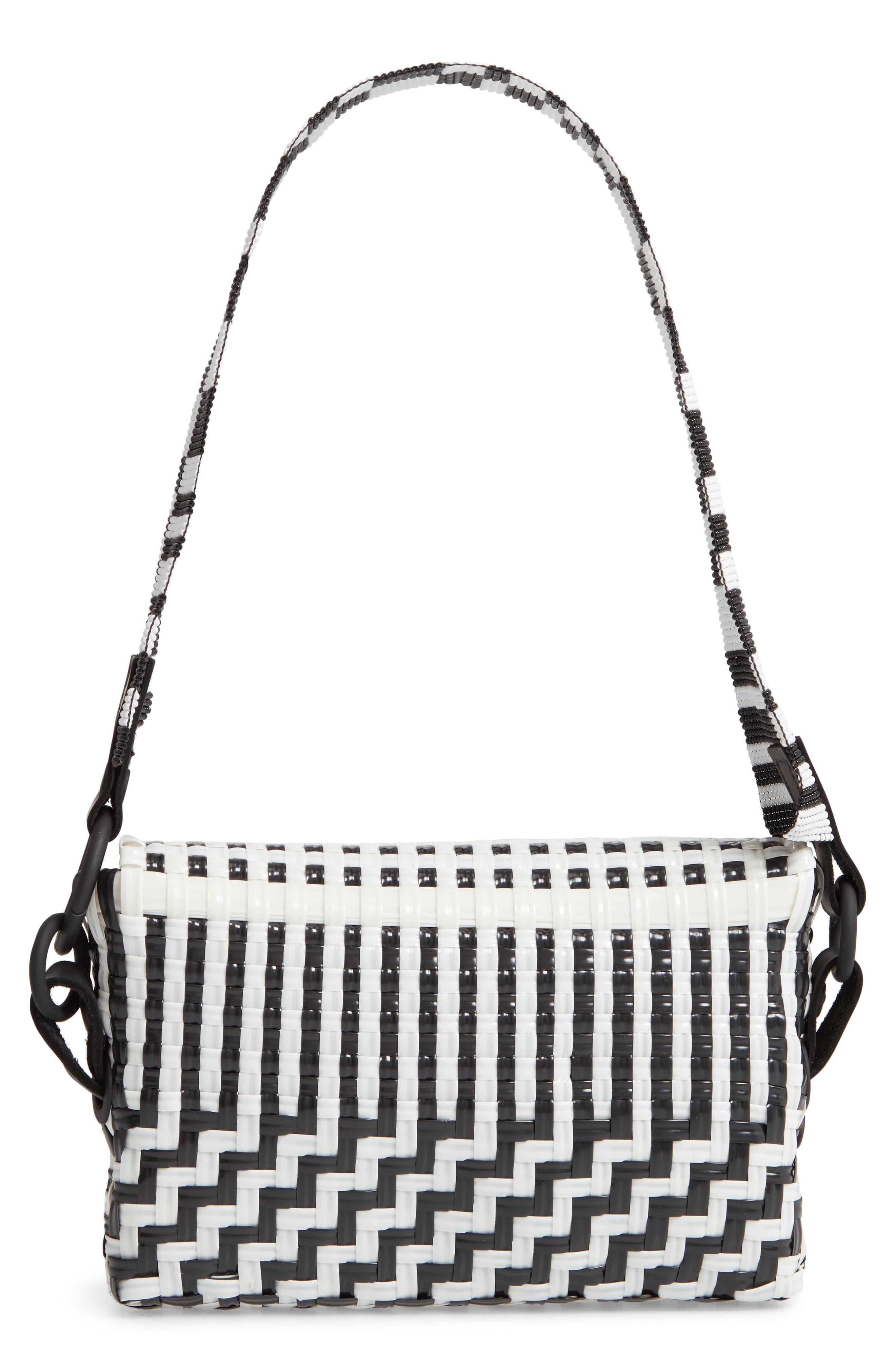 Woven Baguette Shoulder Bag,                             Alternate thumbnail 3, color,                             BLACK/ WHITE