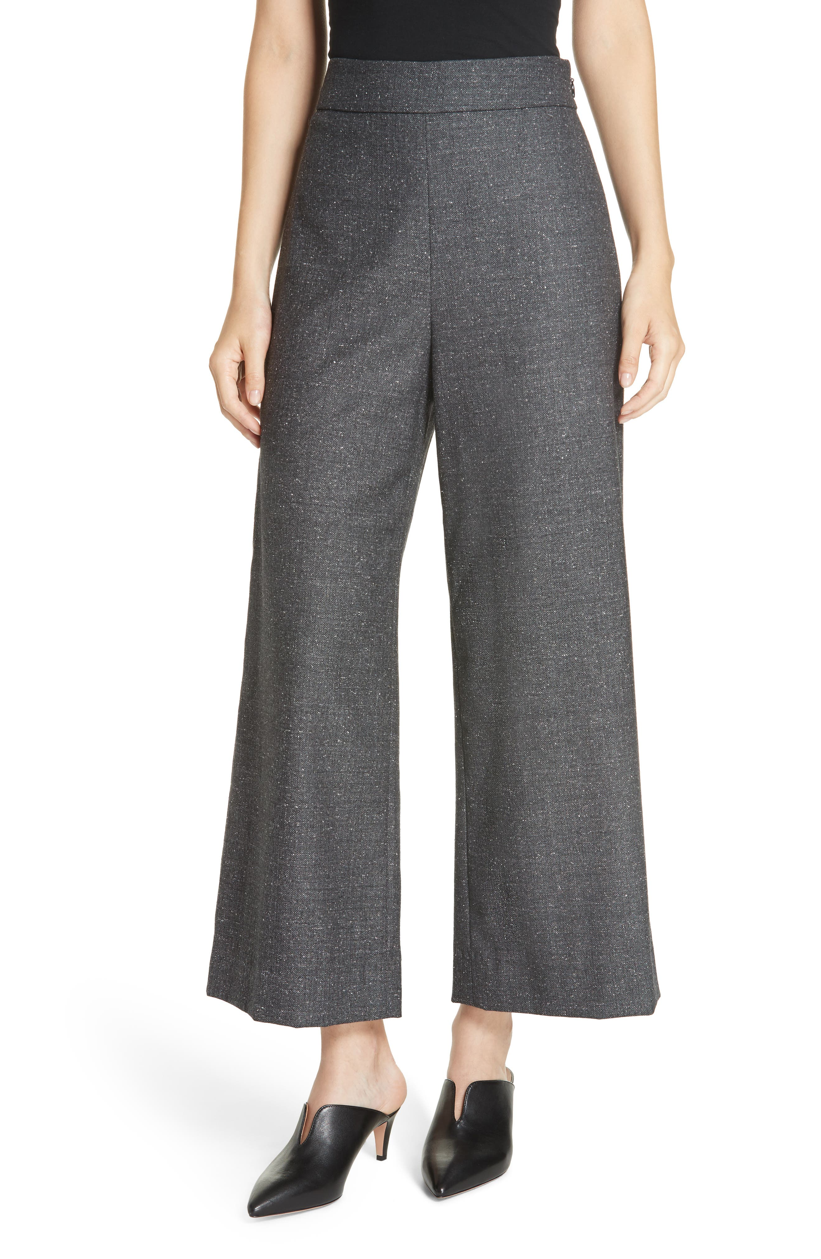 Wide Leg Crop Wool & Silk Blend Trousers,                             Main thumbnail 1, color,                             GREY