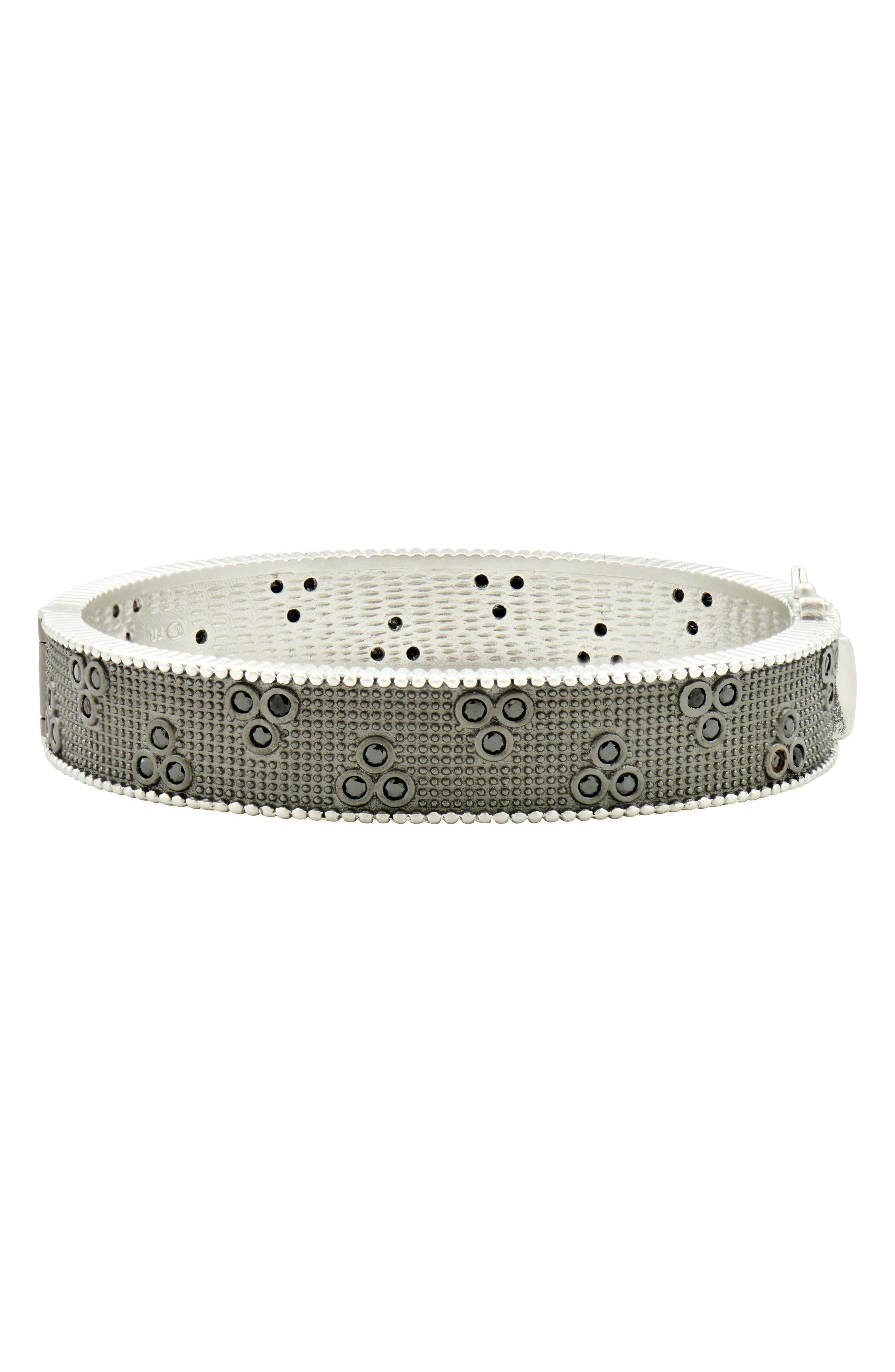 FREIDA ROTHMAN Industrial Finish Three Point Bracelet, Main, color, BLACK/ SILVER