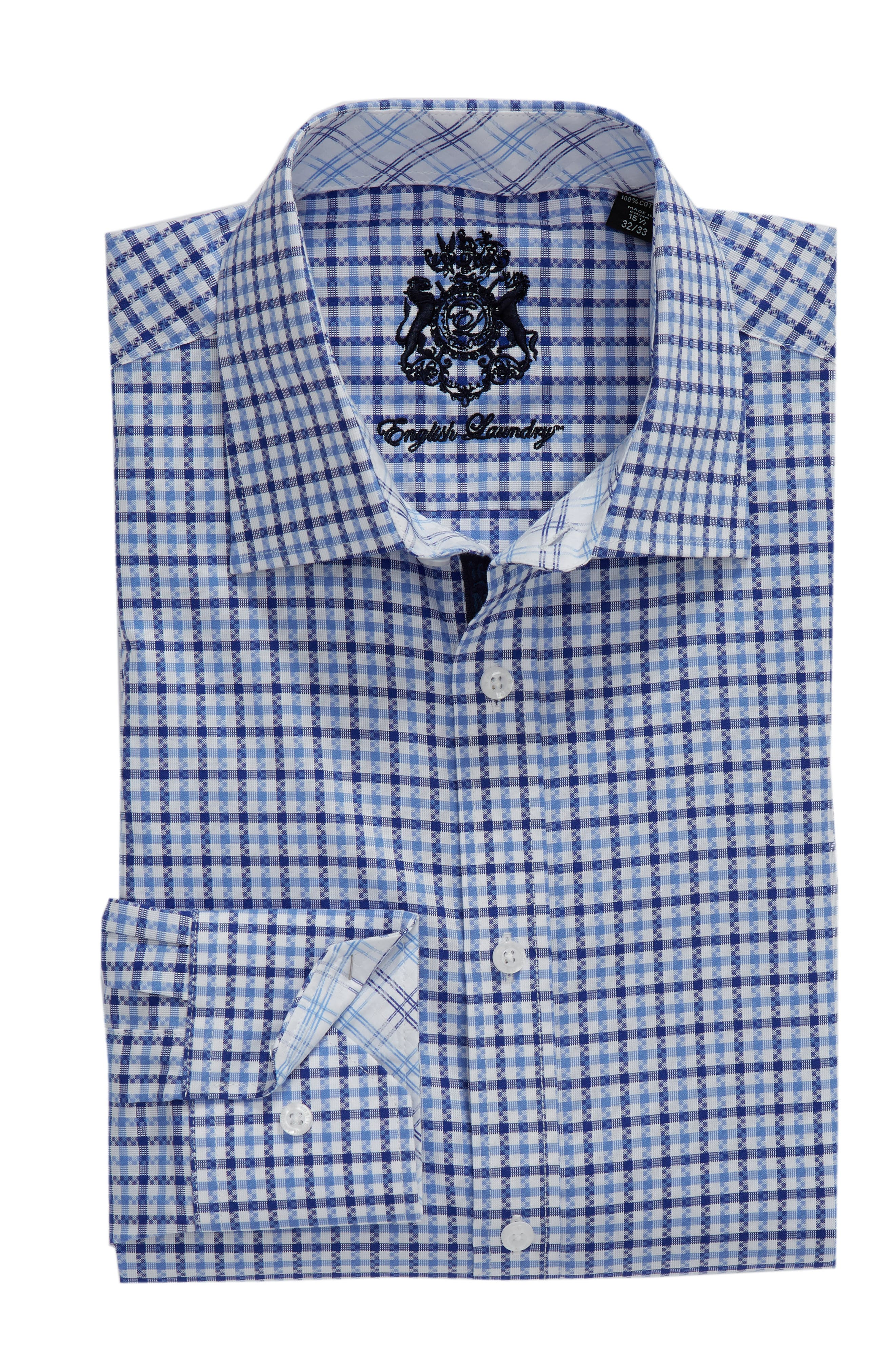 Regular Fit Check Dress Shirt,                             Alternate thumbnail 5, color,                             BLUE