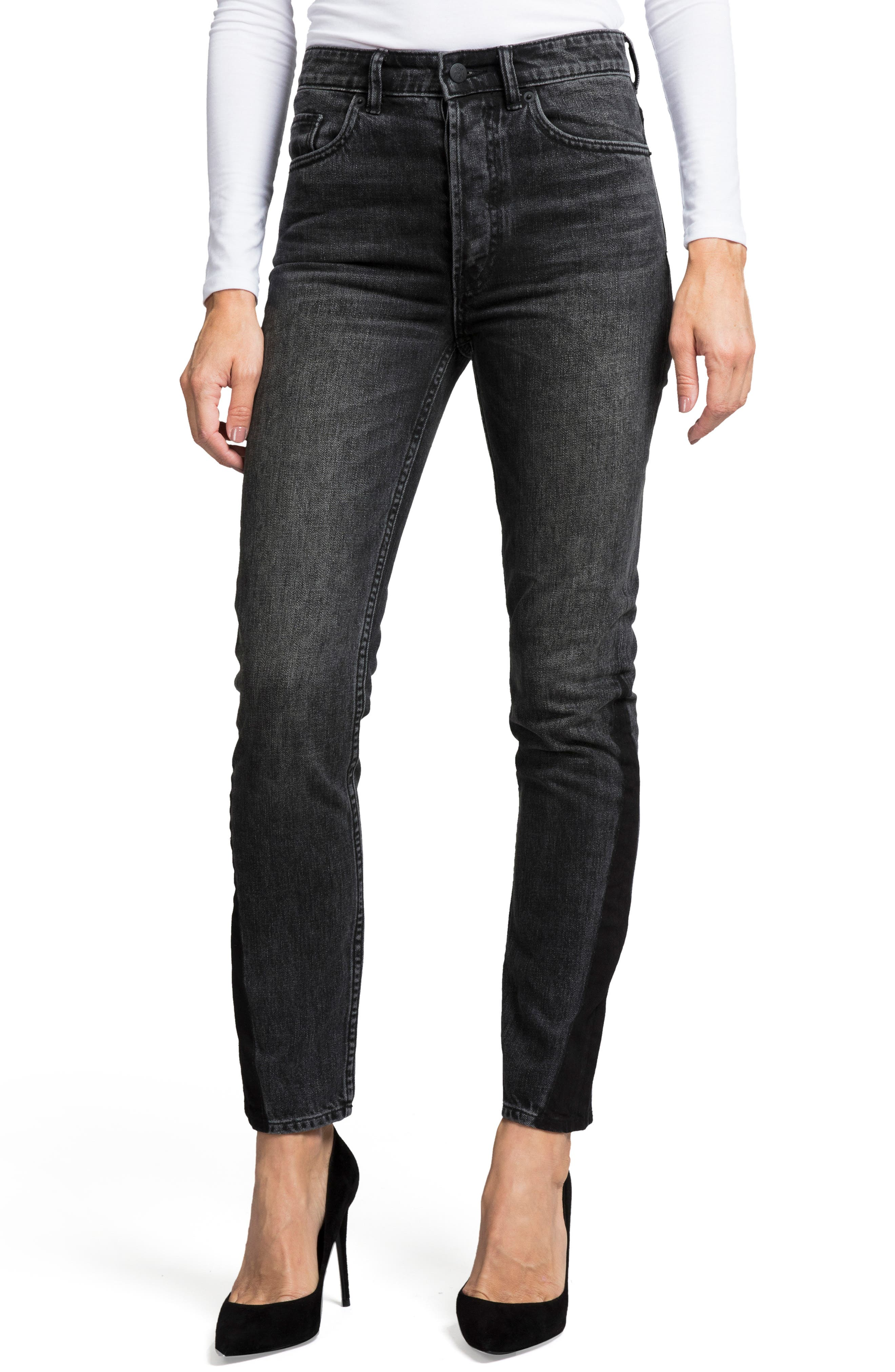 PRPS Amx Two-Tone High Waist Skinny Jeans in Black