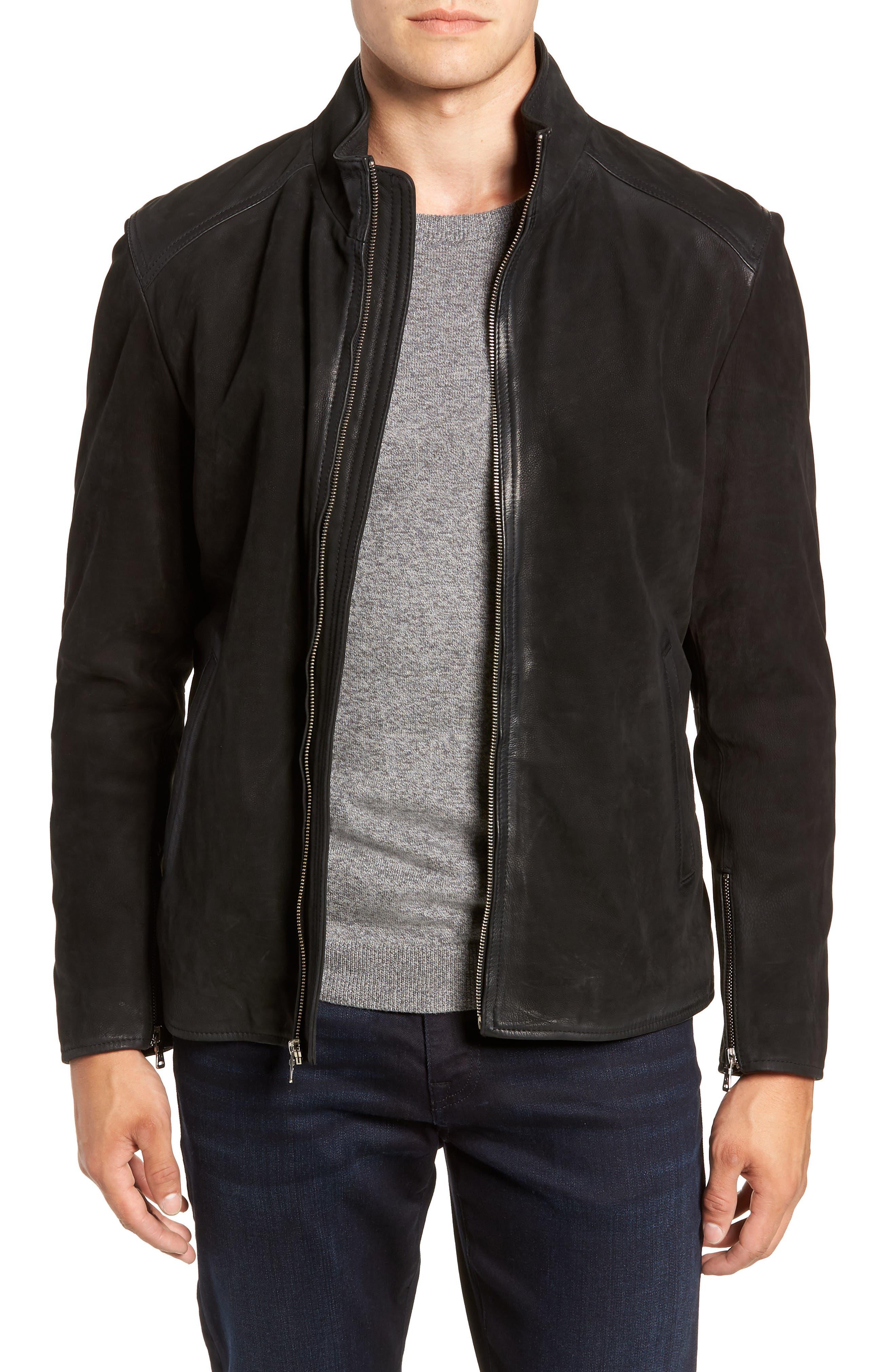 Regular Fit Leather Moto Jacket,                         Main,                         color, BLACK