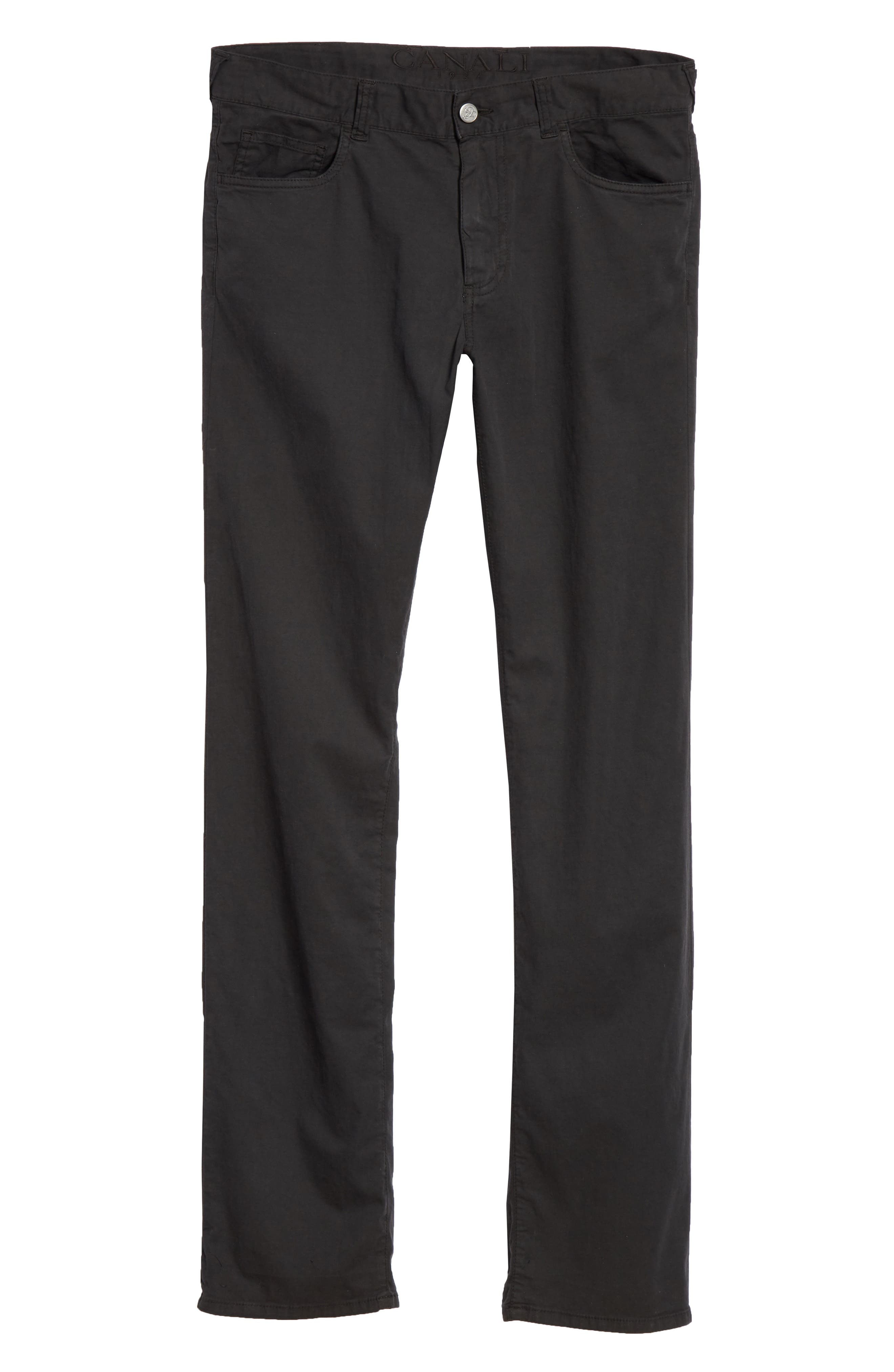Stretch Cotton & Silk Five Pocket Trousers,                             Alternate thumbnail 6, color,                             BLACK