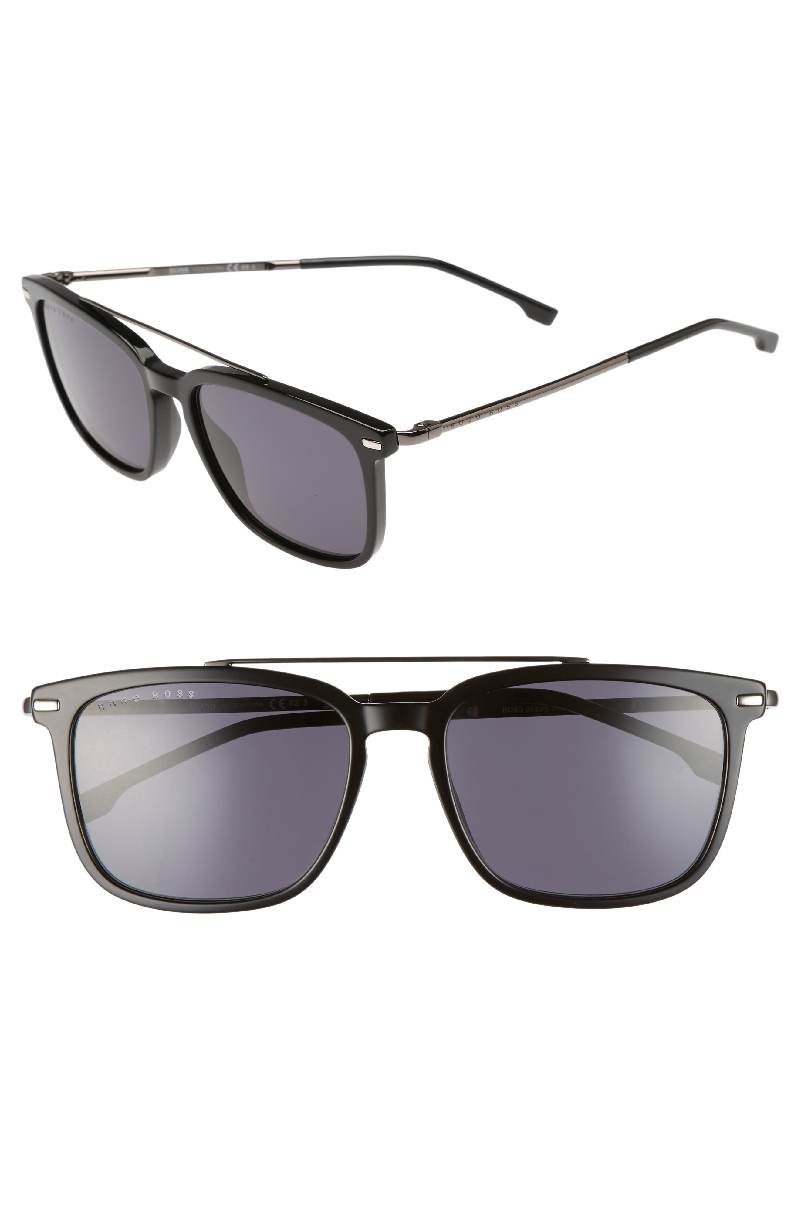 55mm Polarized Sunglasses,                         Main,                         color, BLACK