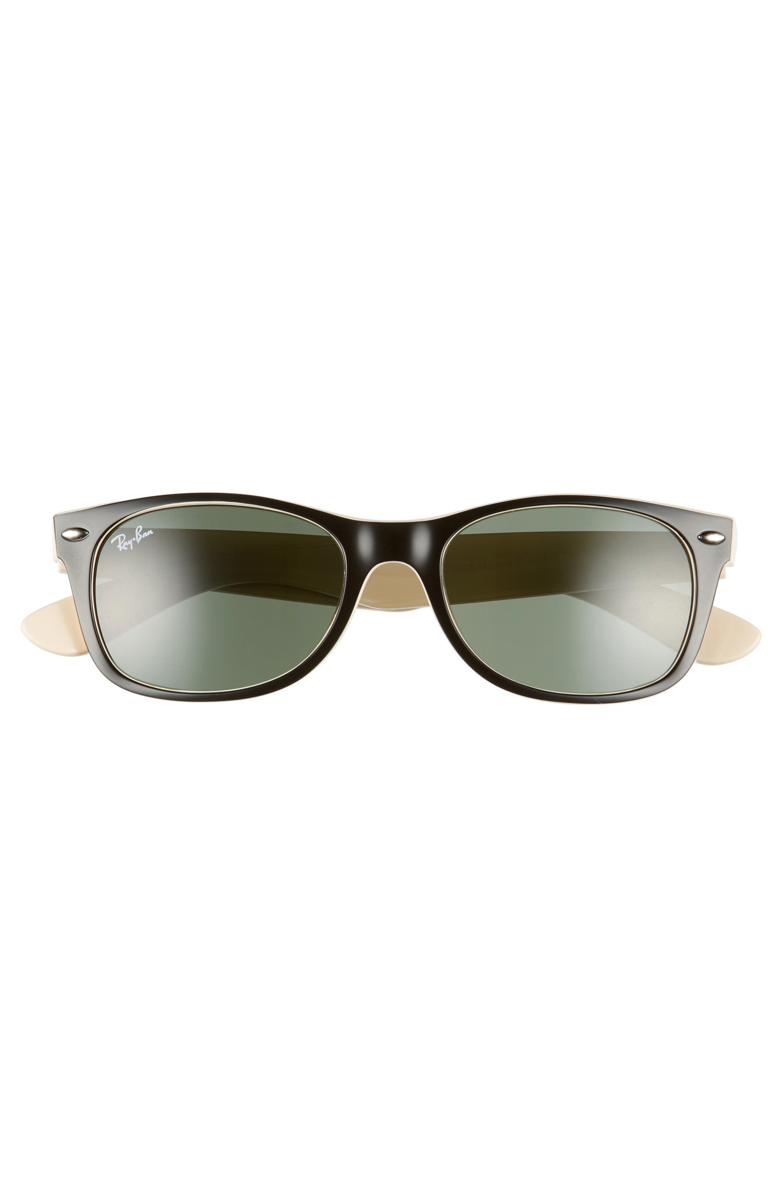 RAY-BAN,                             Small New Wayfarer 52mm Sunglasses,                             Alternate thumbnail 3, color,                             BLACK BEIGE/ GREEN