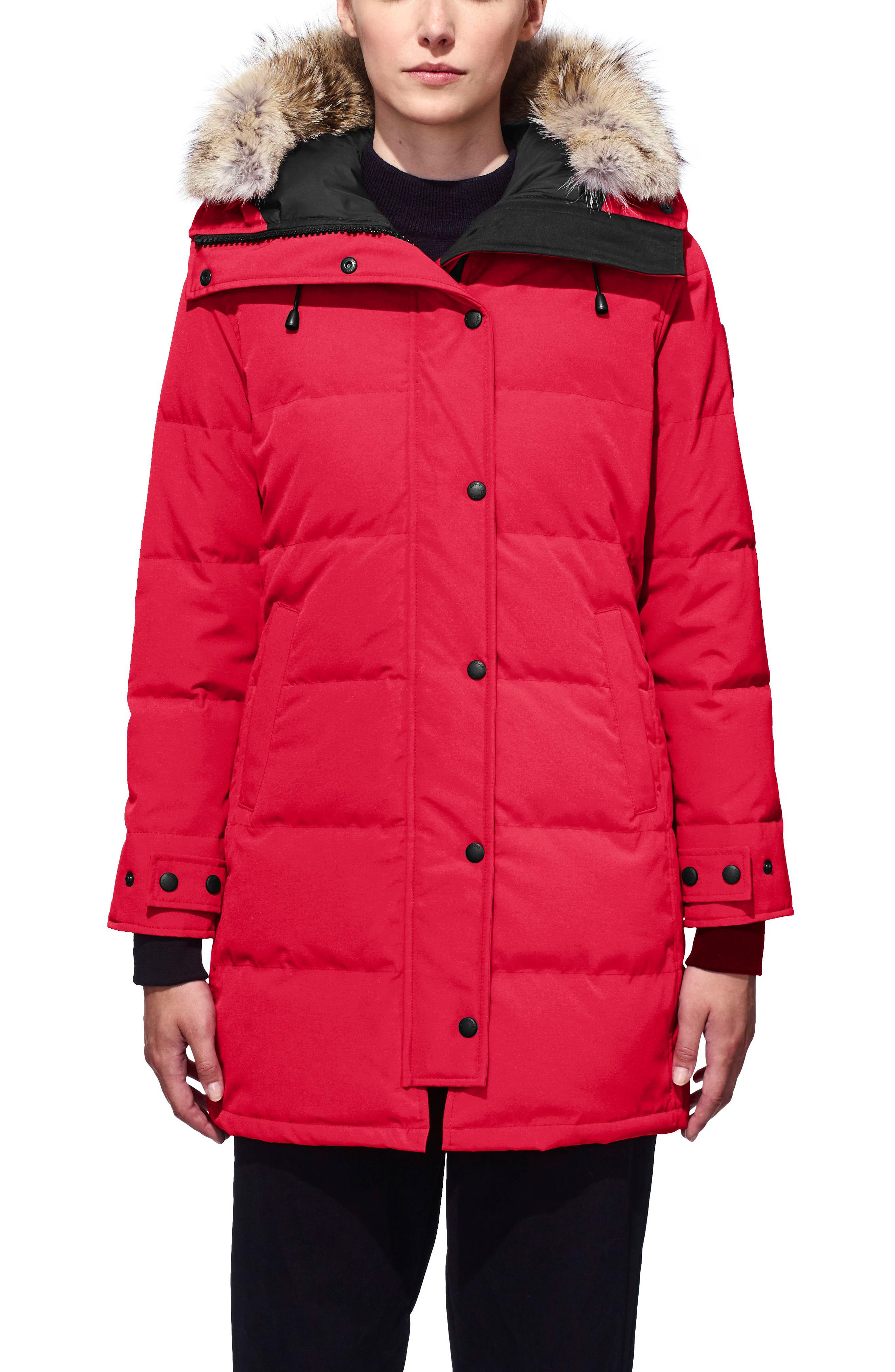 Petite Canada Goose Shelburne Fusion Fit Genuine Coyote Fur Trim Down Parka, P (000-00P) - Red