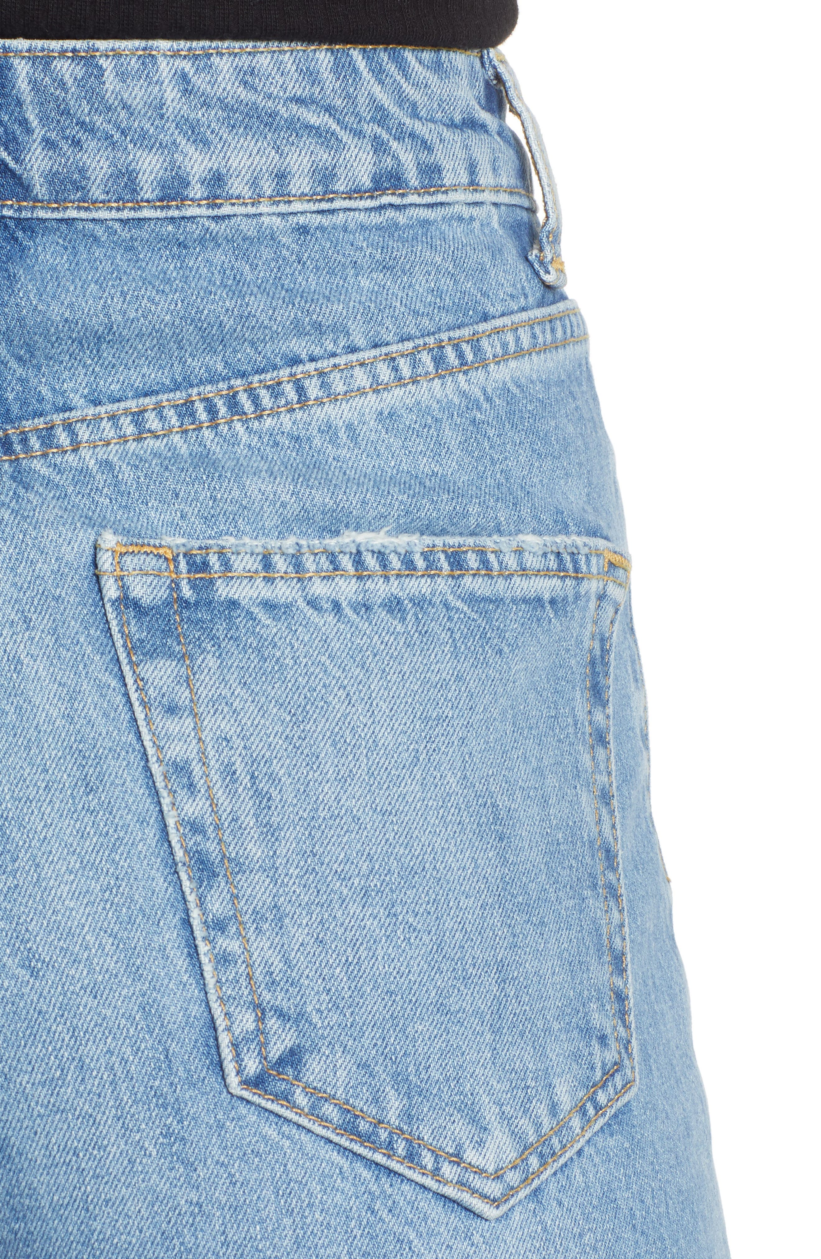 Crop Wide Leg Jeans,                             Alternate thumbnail 4, color,                             MID DENIM