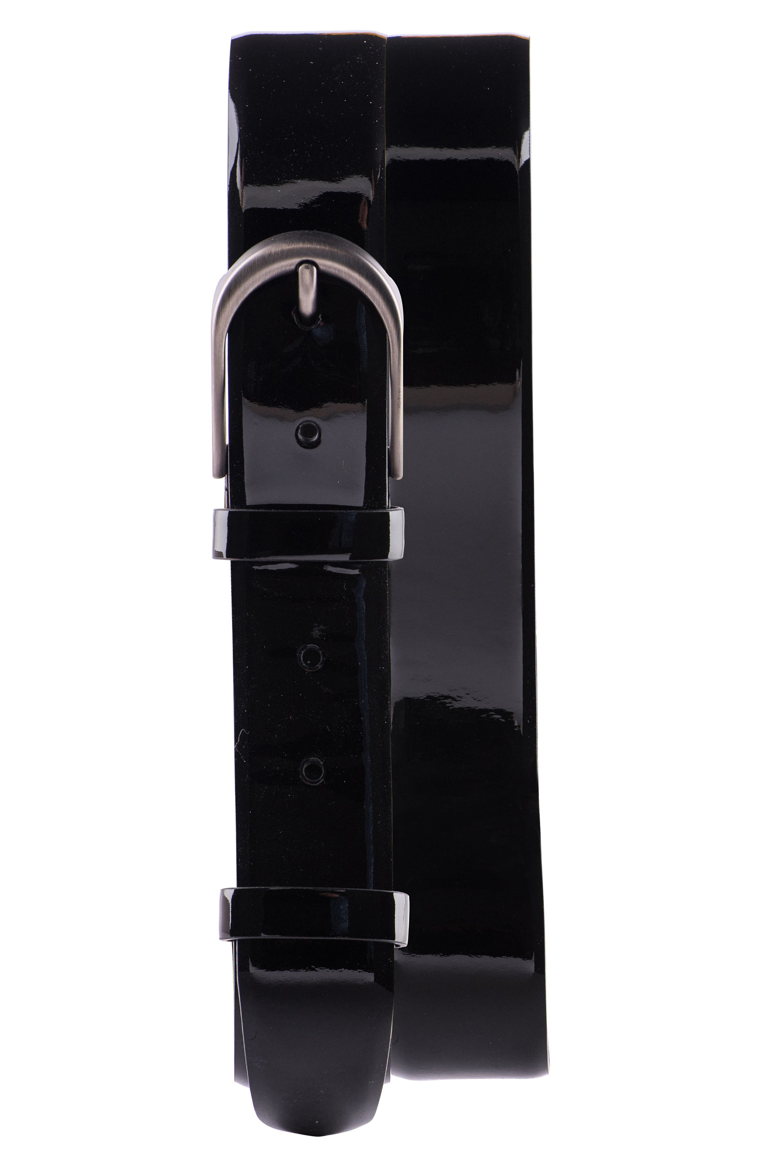Solid Leather Belt,                             Main thumbnail 1, color,                             001