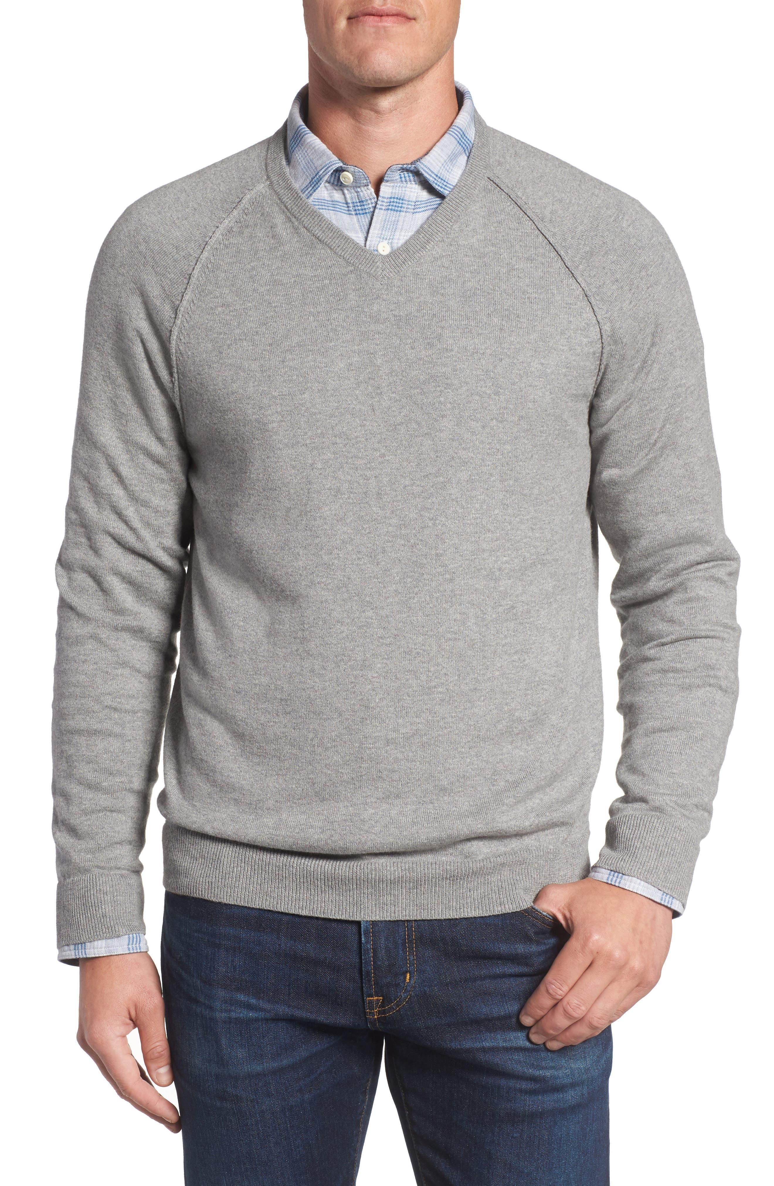 Saddle Shoulder Cotton & Cashmere V-Neck Sweater,                             Main thumbnail 4, color,