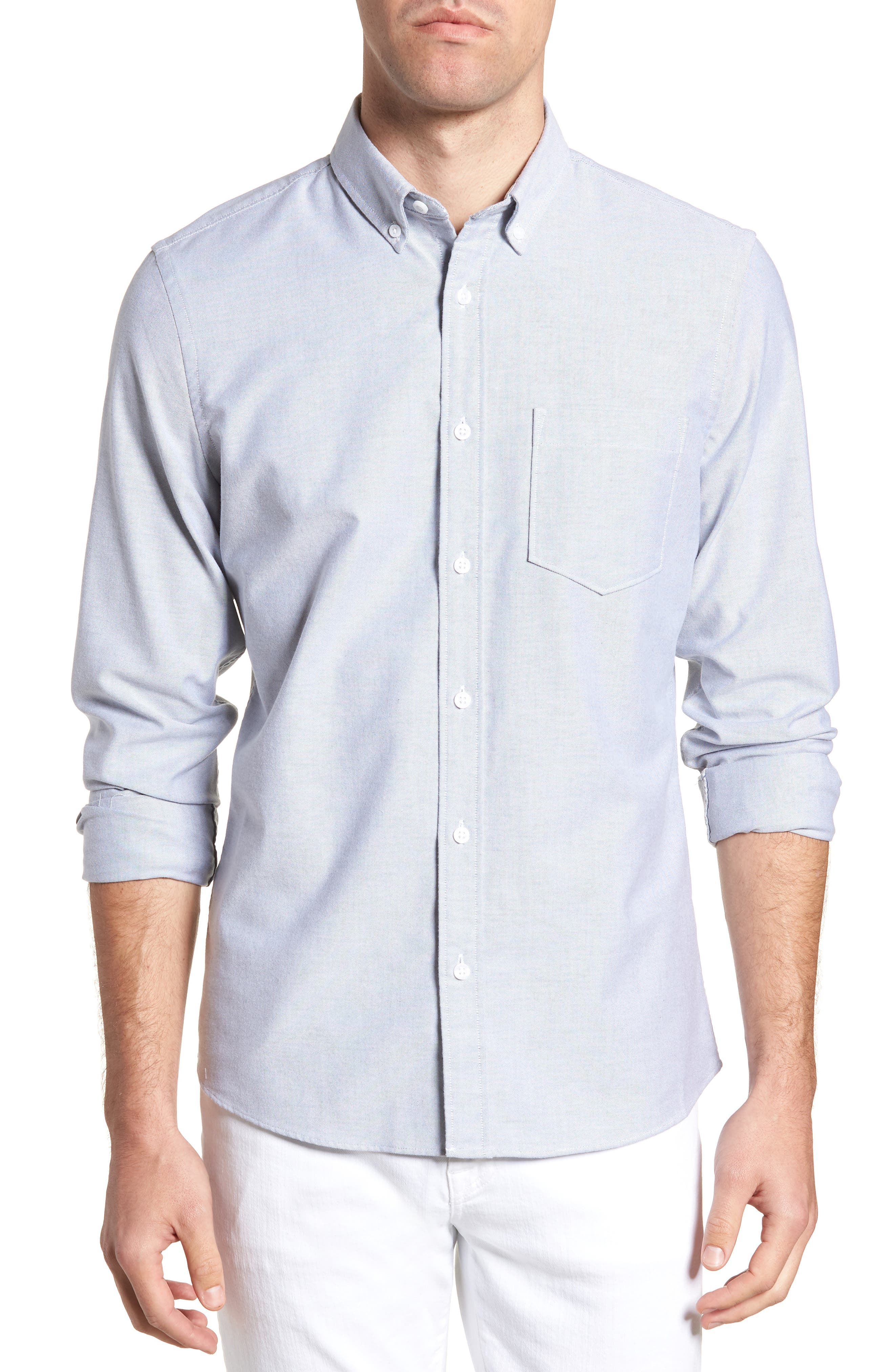 Trim Fit Washed Oxford Shirt,                             Main thumbnail 1, color,                             GREY MAGNET OXFORD