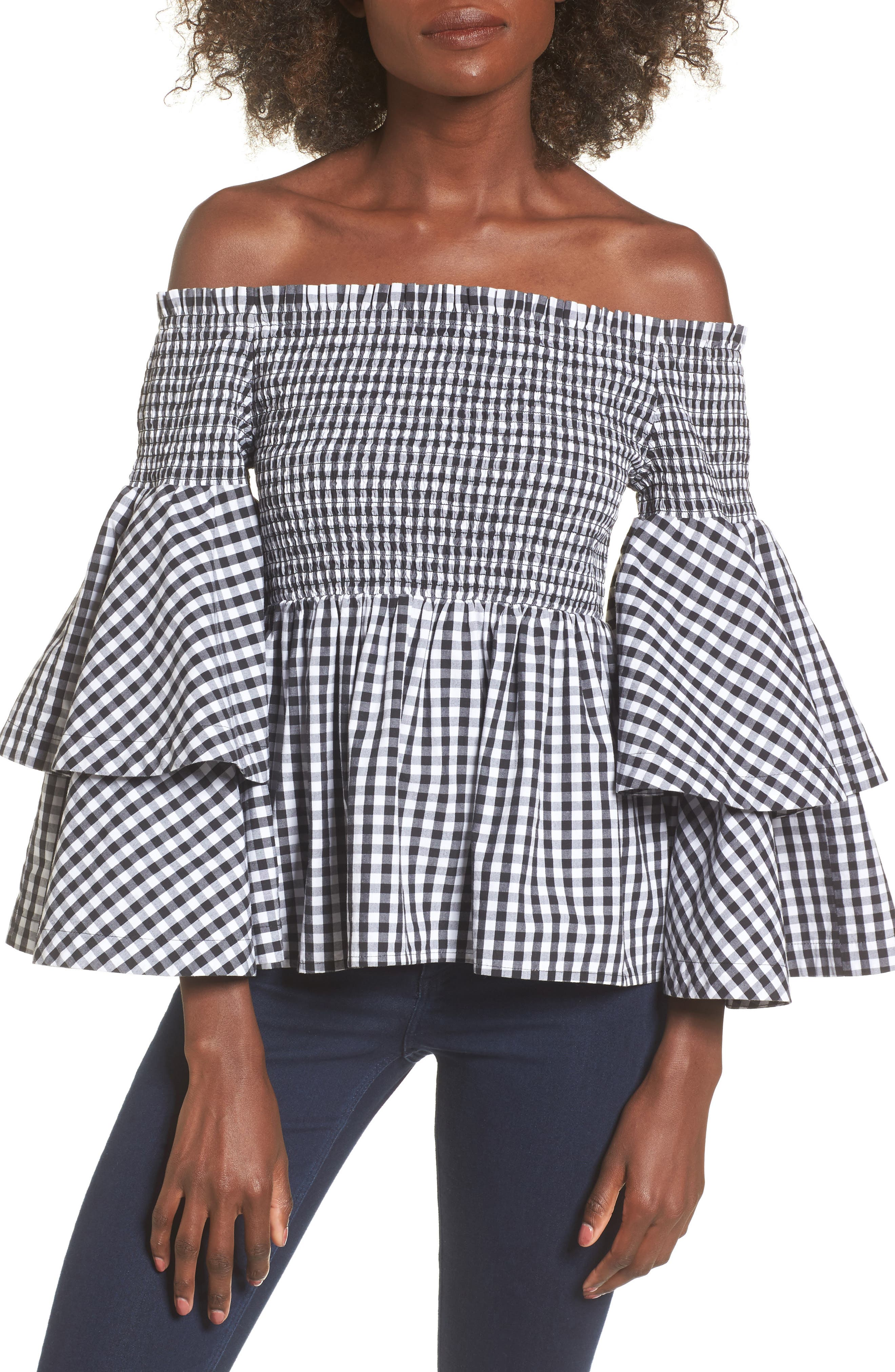 Ruffle Sleeve Off the Shoulder Top,                             Main thumbnail 1, color,