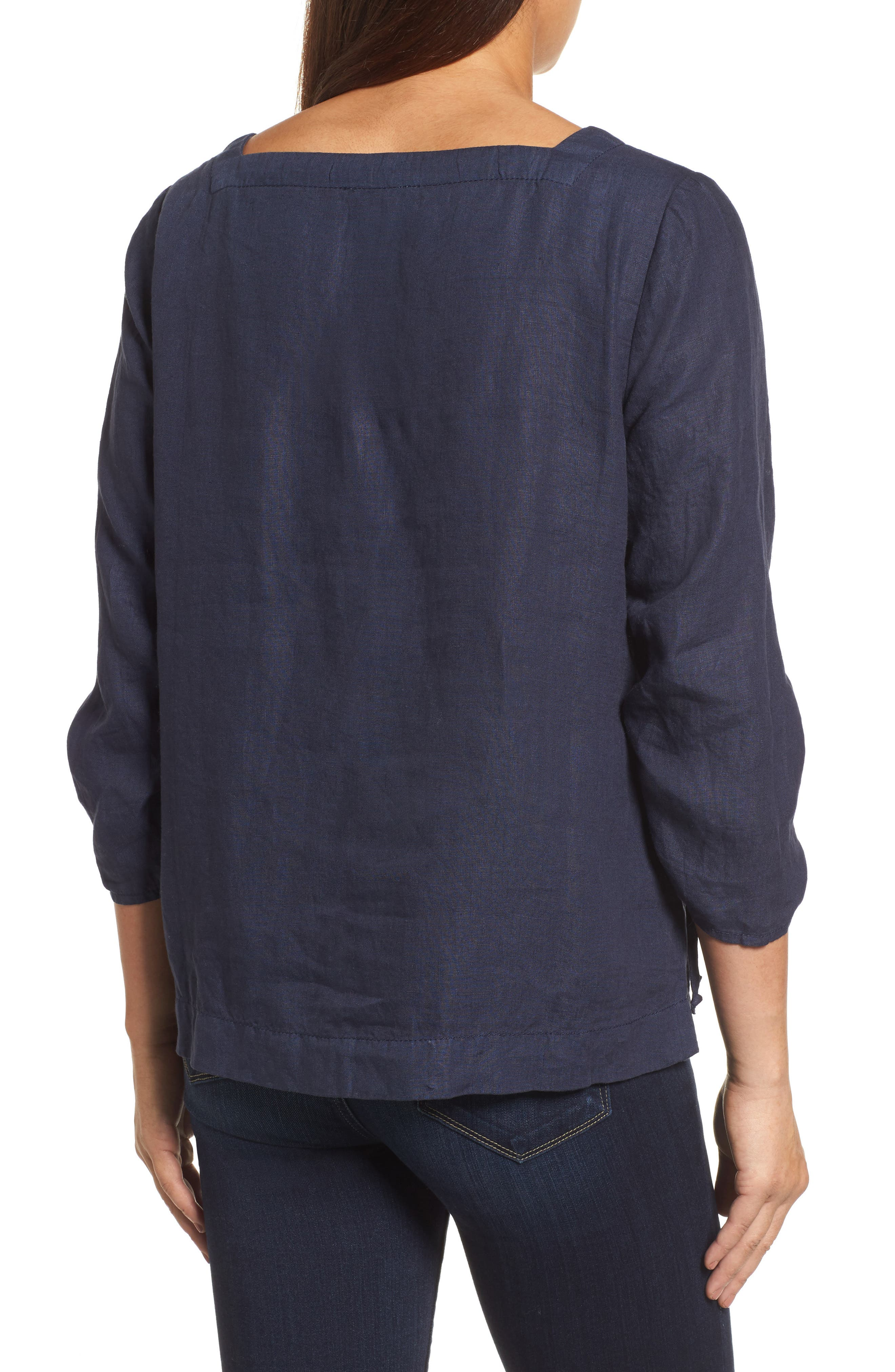 Ruched Sleeve Linen Pullover,                             Alternate thumbnail 5, color,