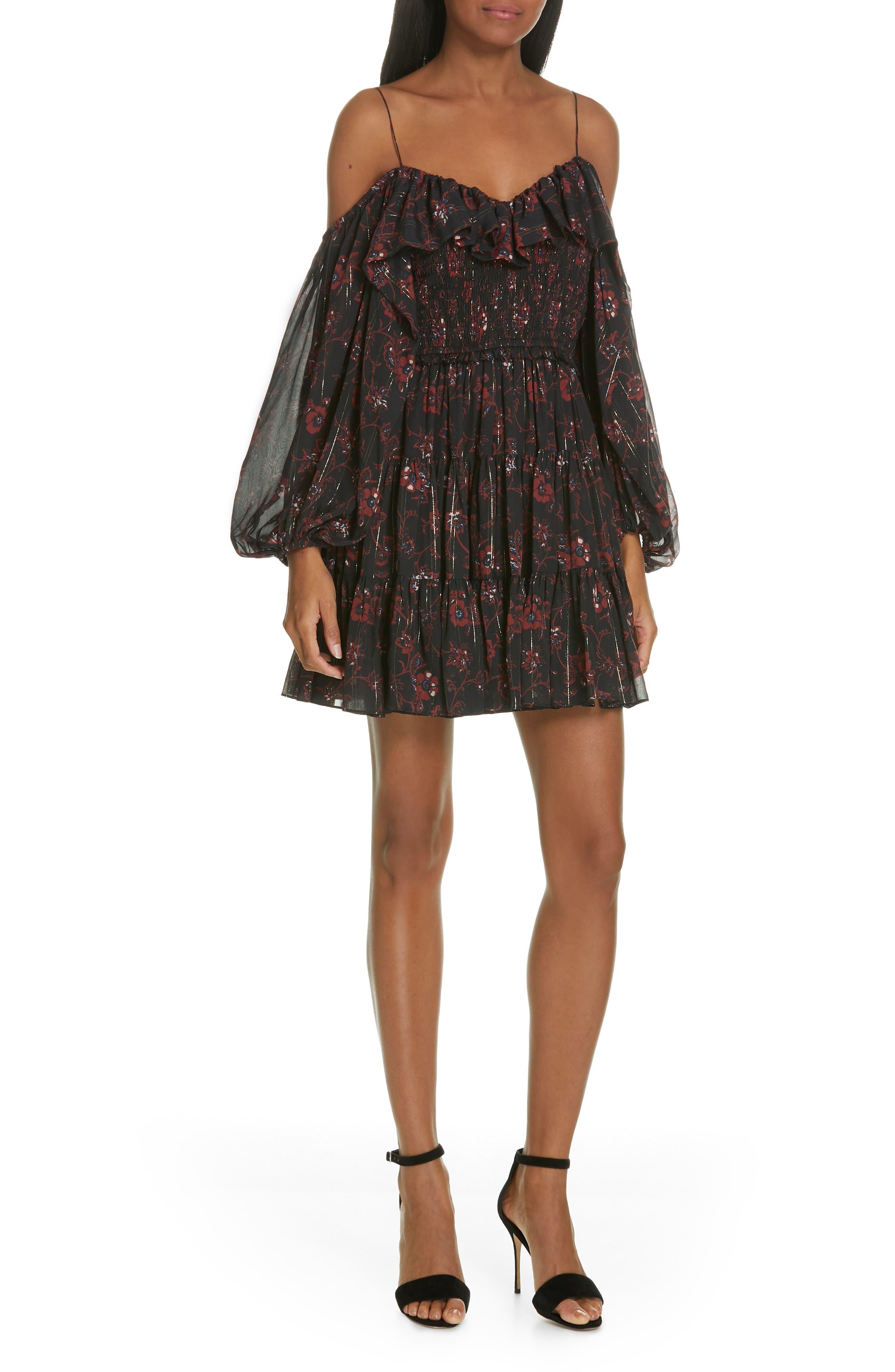 Monet Metallic Floral Cold Shoulder Silk Blend Dress, Main, color, NOIR