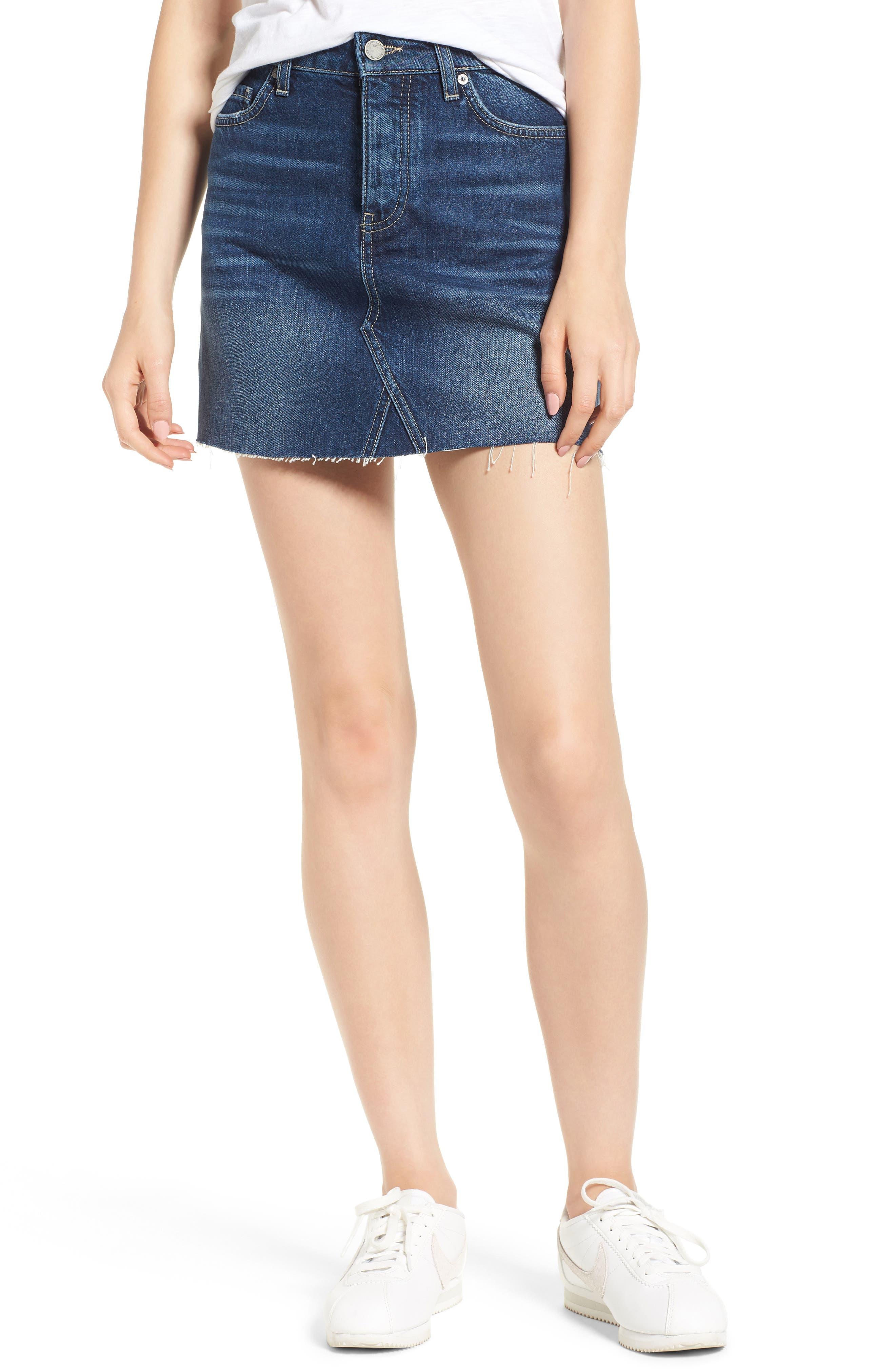 Aideen Denim Miniskirt,                         Main,                         color, 400