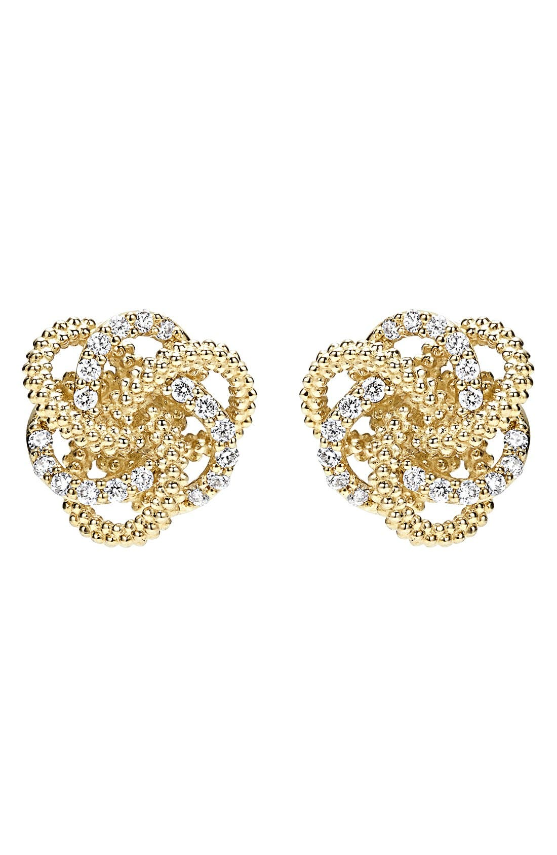'Love Knot' Diamond Stud Earrings,                             Alternate thumbnail 3, color,                             GOLD