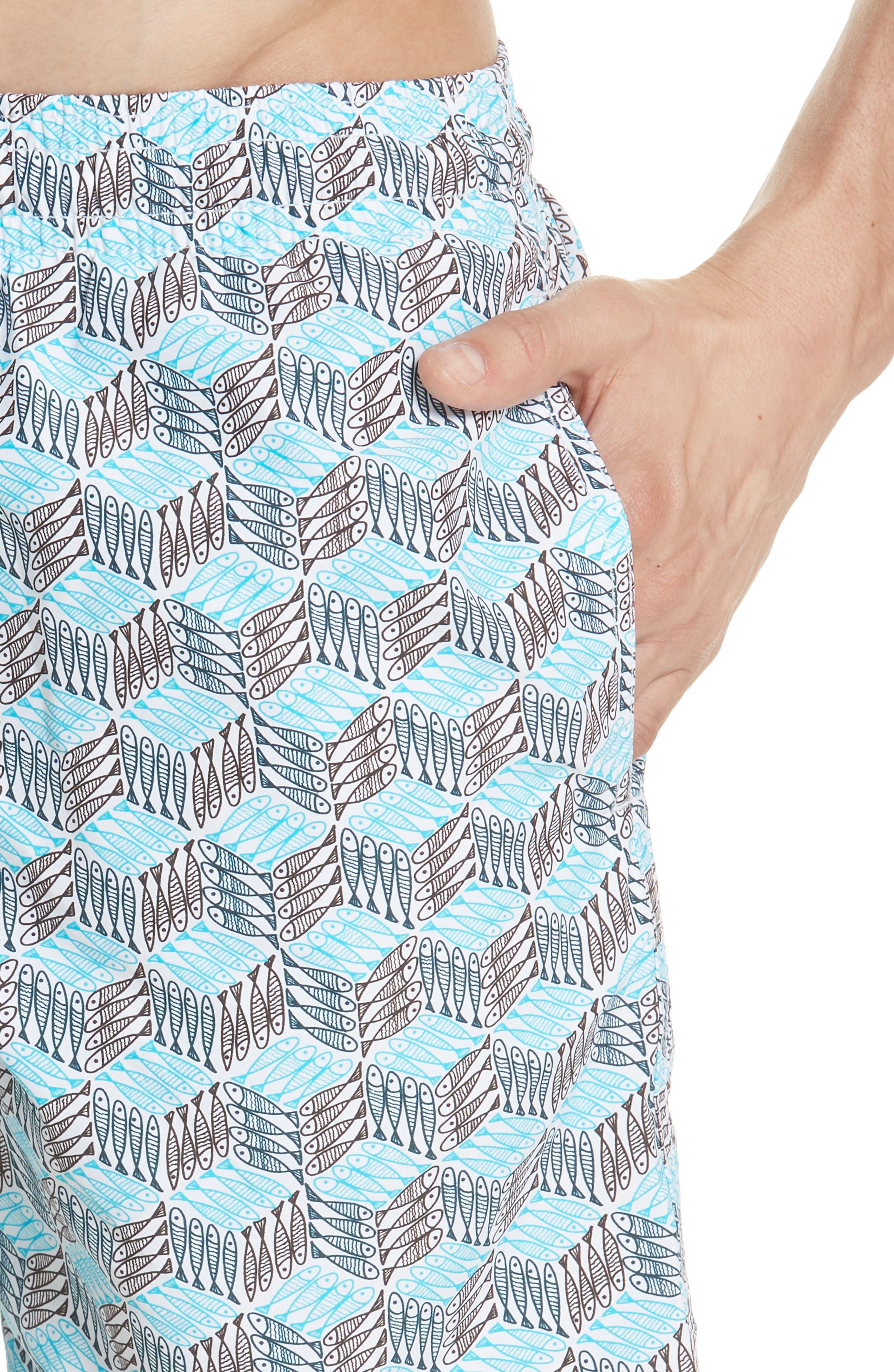 Fishes Cube Print Swim Trunks,                             Alternate thumbnail 4, color,                             432