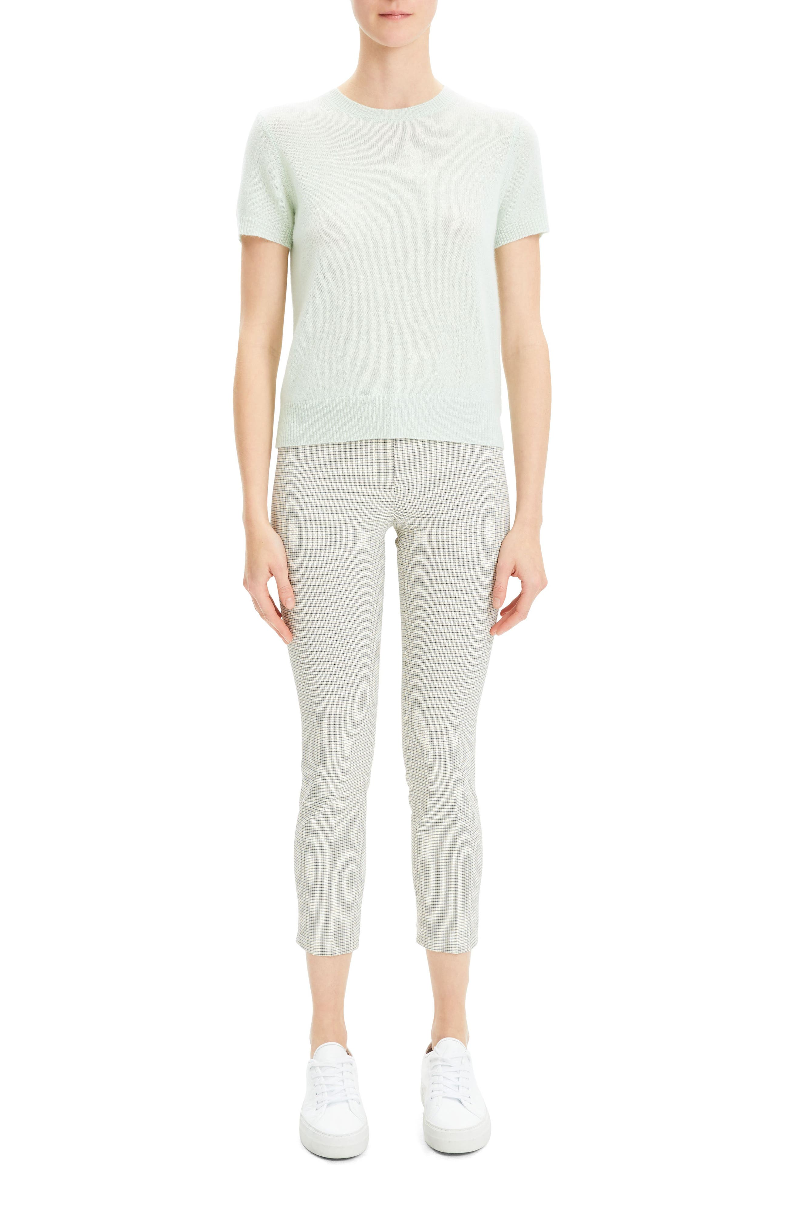 THEORY,                             Featherweight Cashmere Sweater,                             Alternate thumbnail 4, color,                             OPAL GREEN