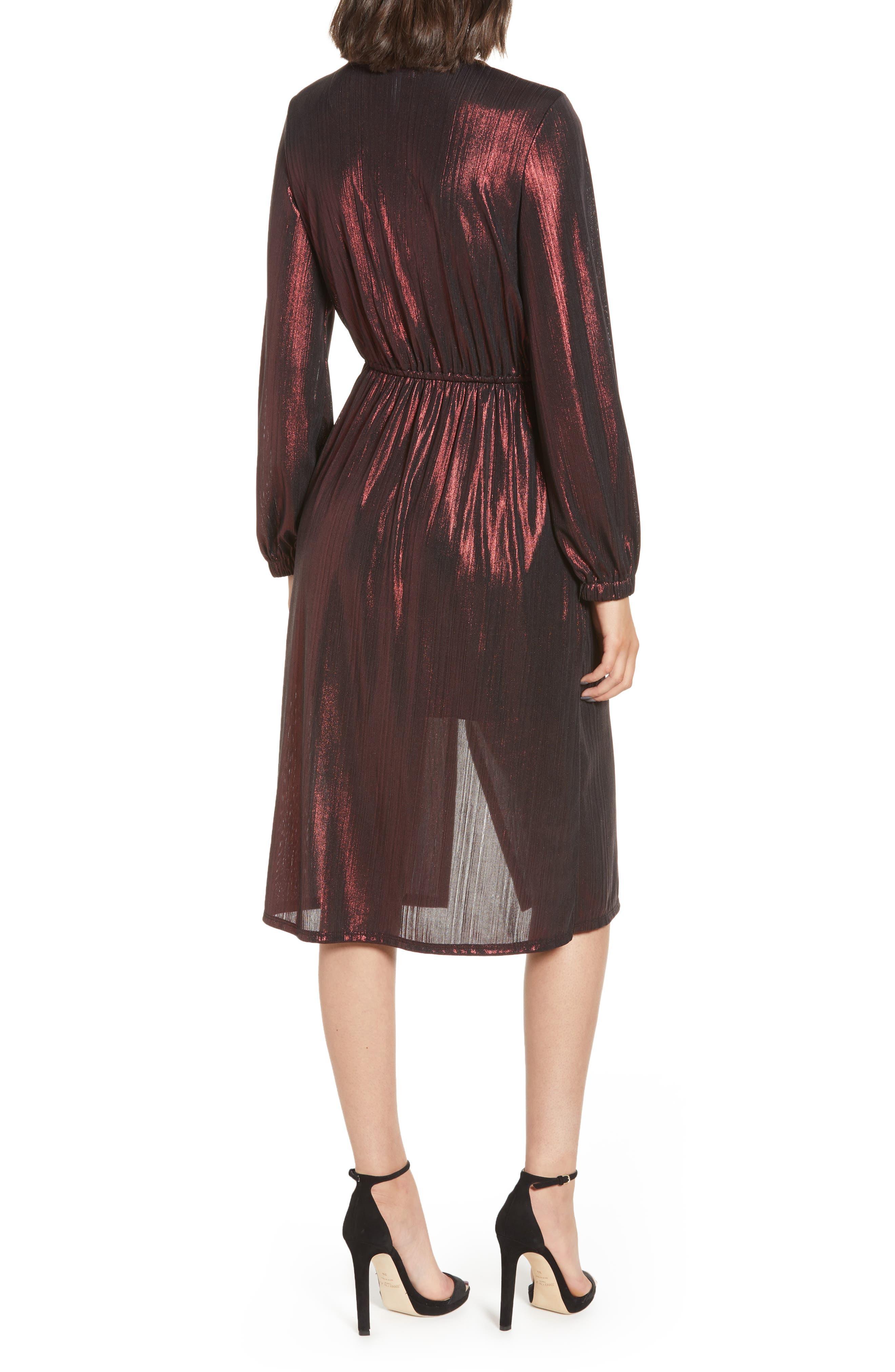 Long Sleeve Deep V-Neck Midi Dress,                             Alternate thumbnail 2, color,                             ROSE GOLD