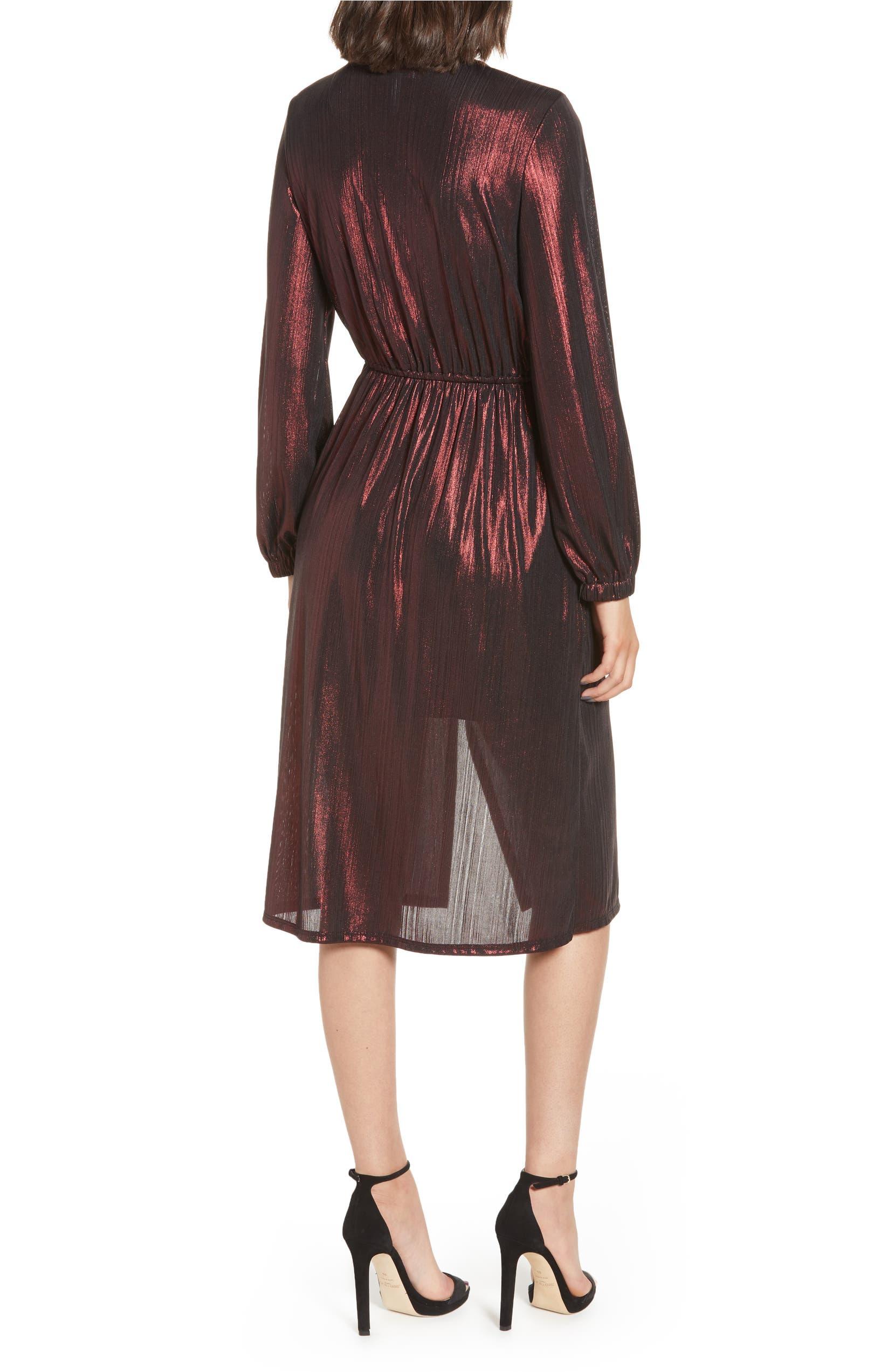 2b43c1a53c Leith Long Sleeve Deep V-Neck Midi Dress