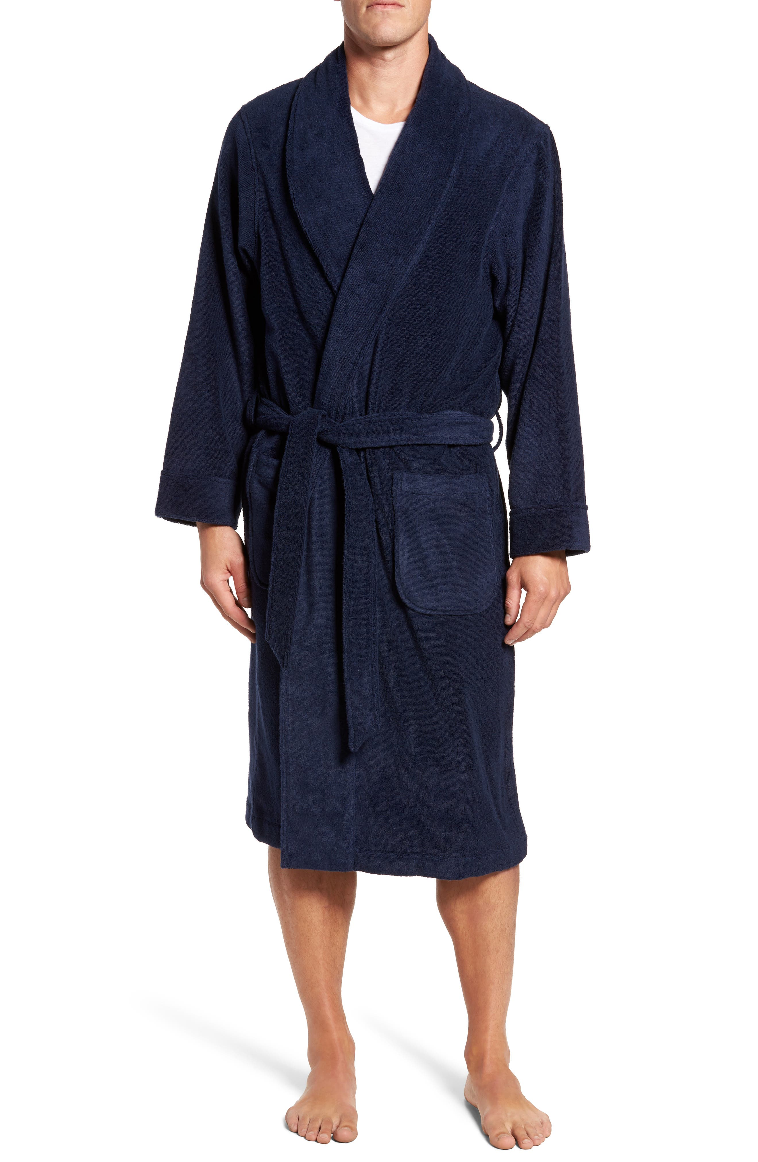 Hydro Cotton Terry Robe,                         Main,                         color, NAVY