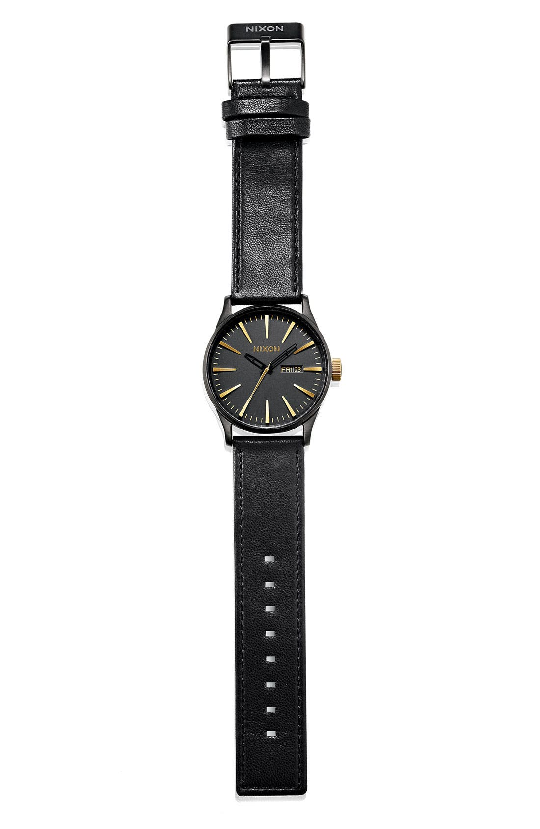 The Sentry Leather Strap Watch, 42mm,                             Alternate thumbnail 3, color,                             001