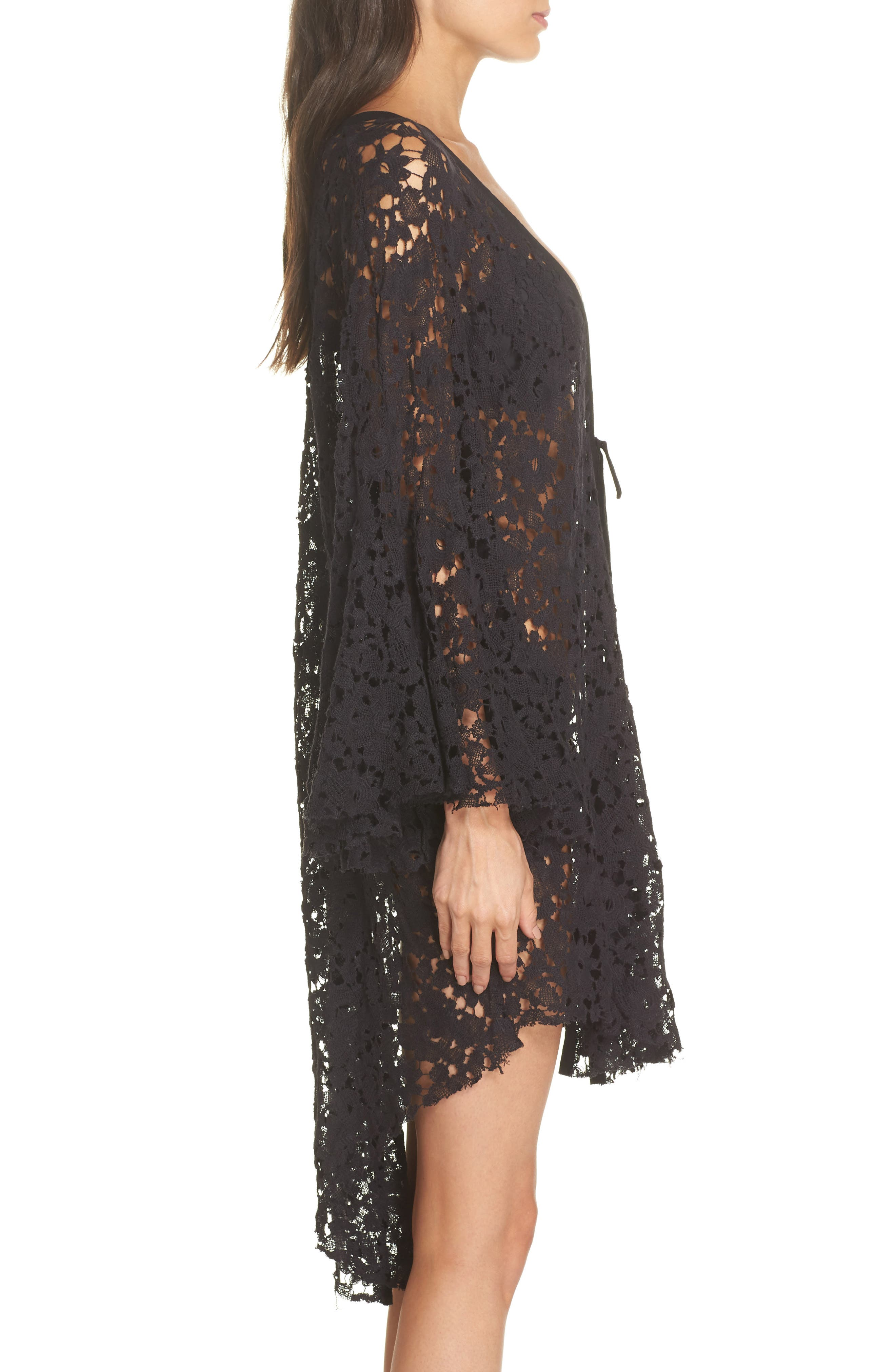FREE PEOPLE,                             Move Over Lace Wrap,                             Alternate thumbnail 3, color,                             BLACK