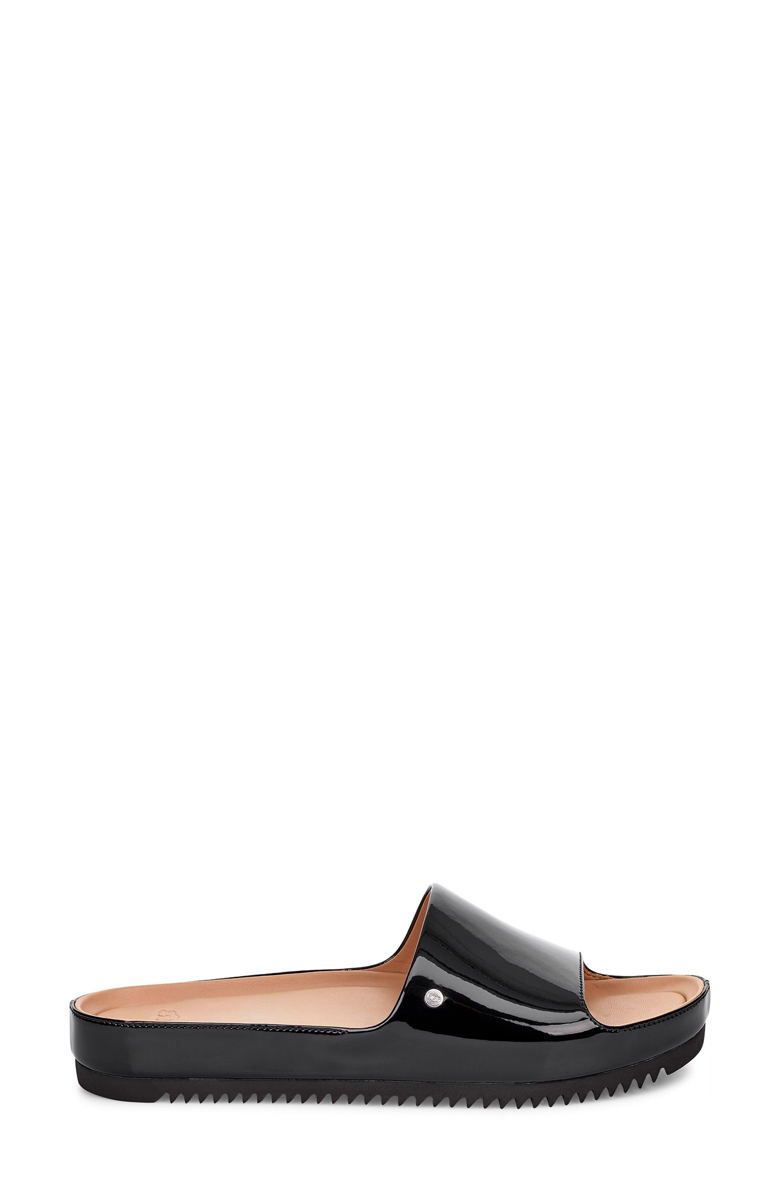Jane Platform Slide Sandal,                             Alternate thumbnail 3, color,                             BLACK PATENT LEATHER