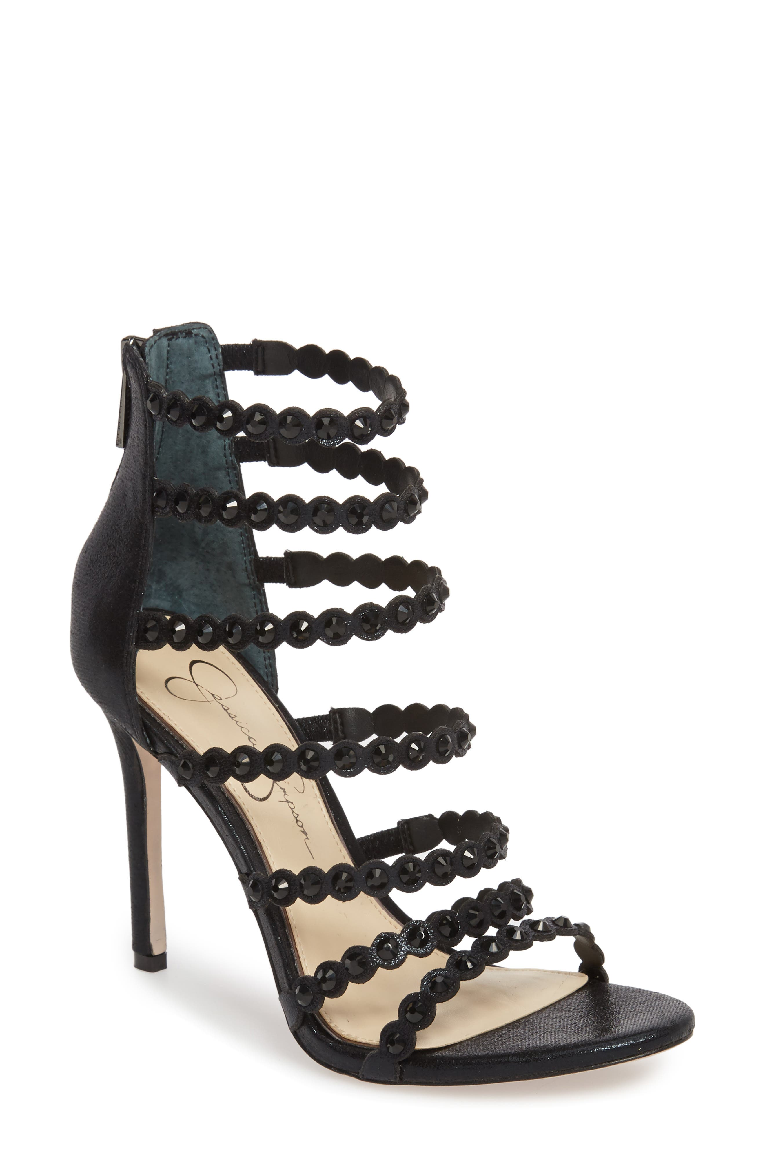 Jezalynn Embellished Sandal,                         Main,                         color, 001