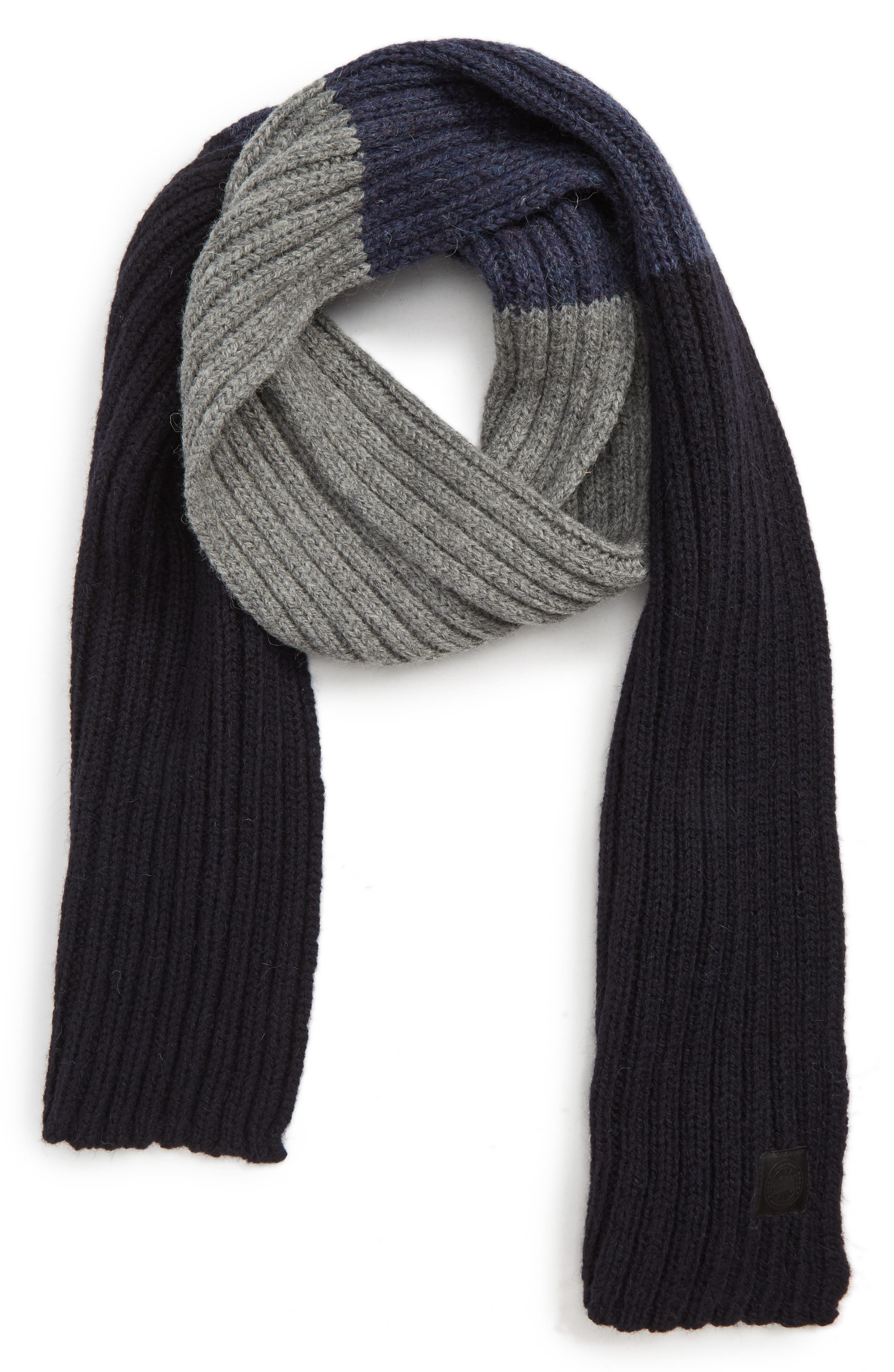 CANADA GOOSE,                             Colorblock Ribbed Wool Scarf,                             Main thumbnail 1, color,                             NAVY