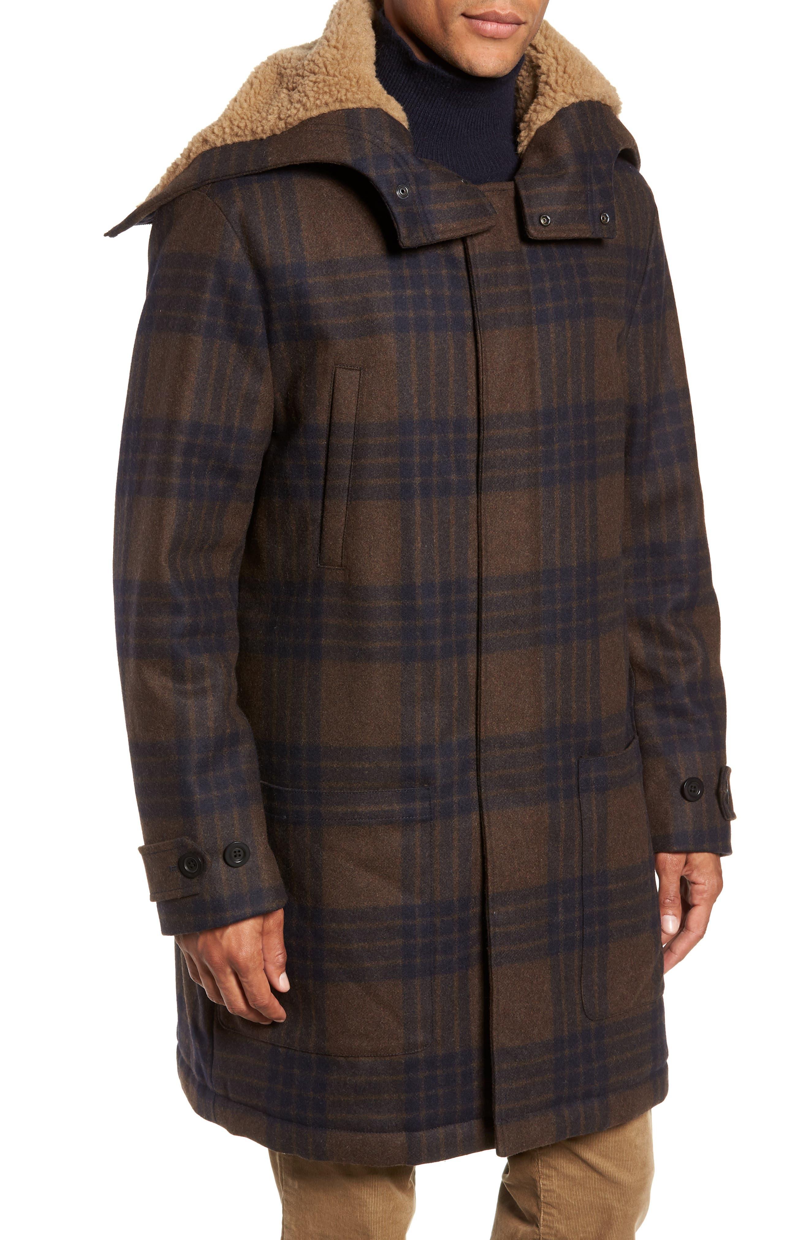 Plaid Duffle Coat with Faux Shearling Trim,                             Alternate thumbnail 4, color,                             H. REDWOOD