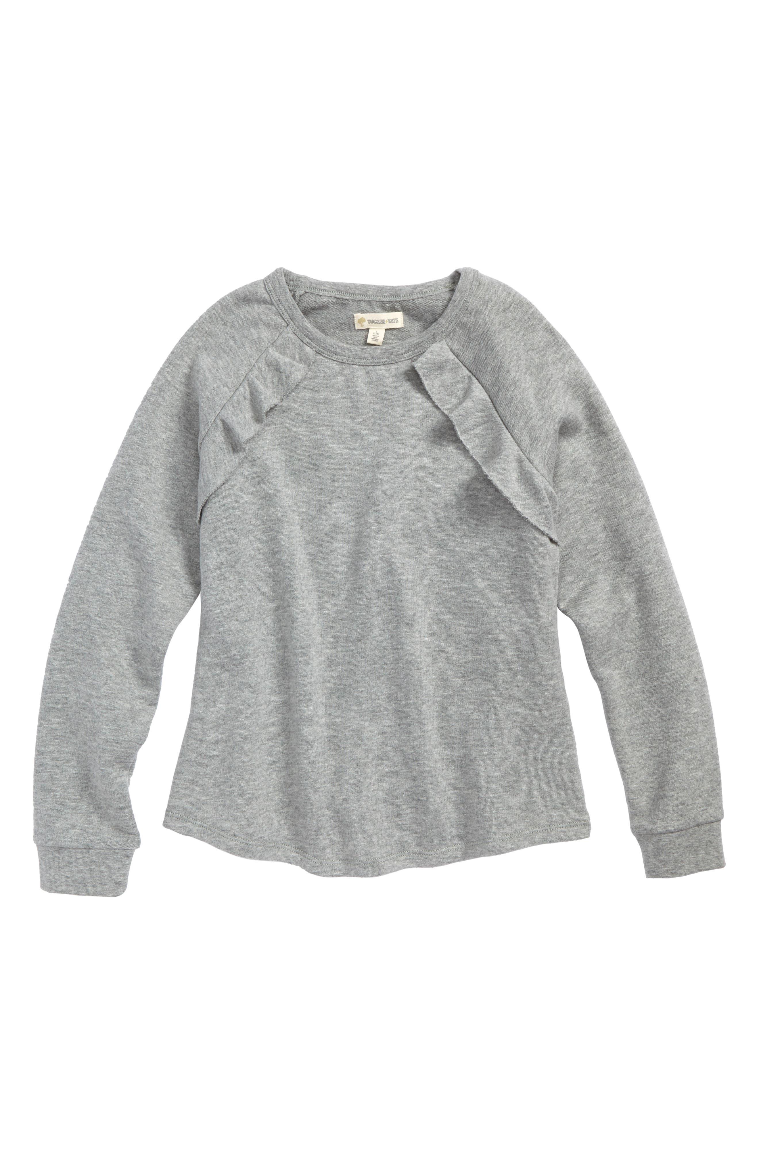 Ruffle Fleece Sweatshirt,                         Main,                         color, 030