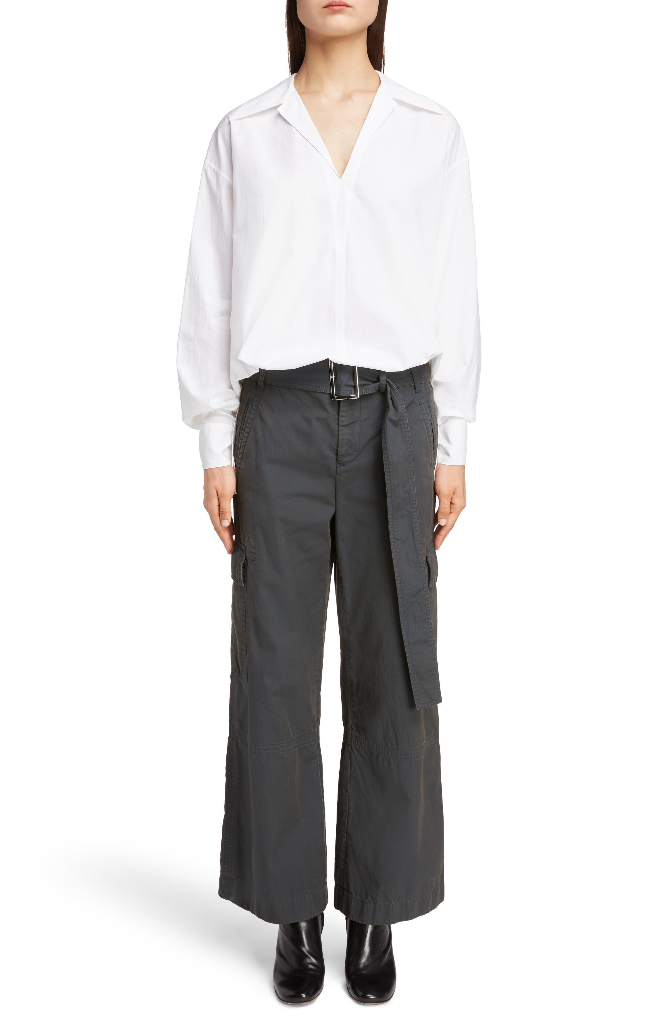 ACNE STUDIOS,                             Patrice Cotton Chino Trousers,                             Alternate thumbnail 6, color,                             ANTHRACITE GREY