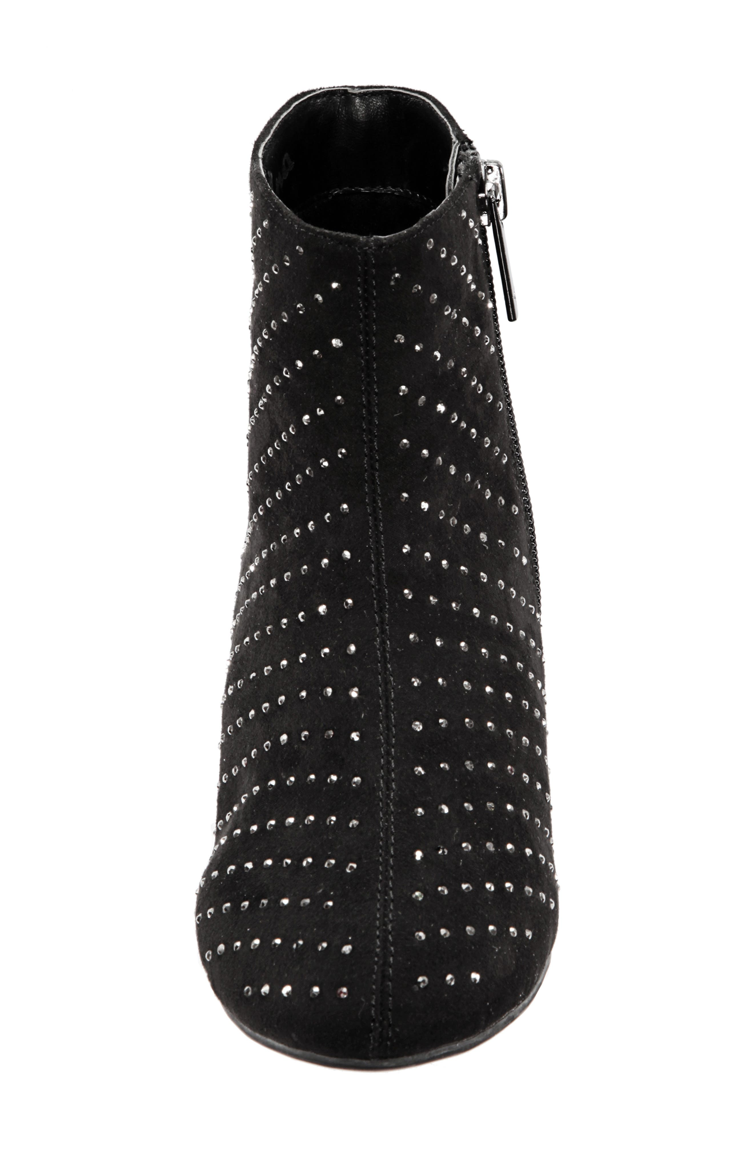 Peaches Studded Bootie,                             Alternate thumbnail 4, color,                             BLACK MICRO SUEDE