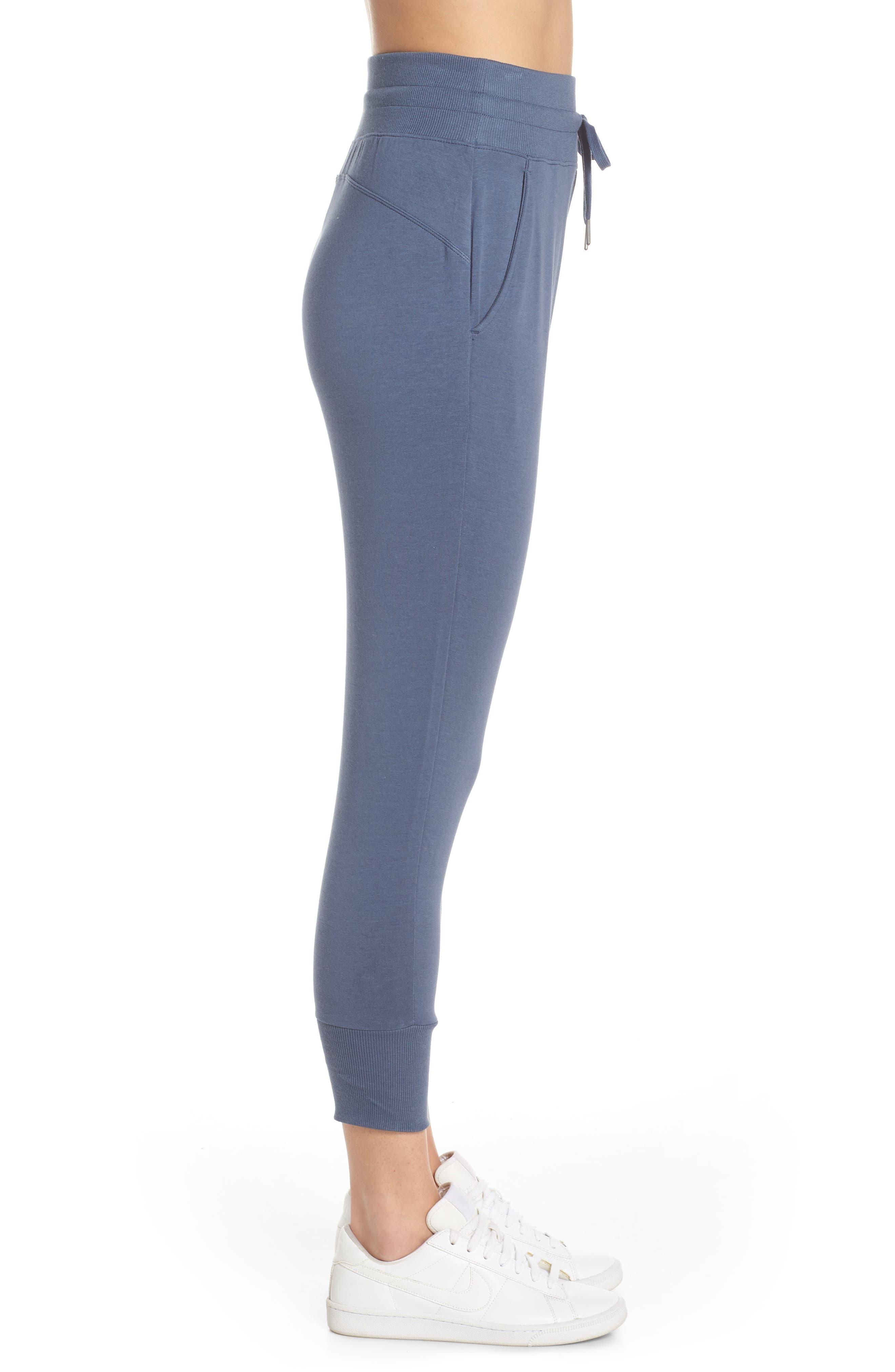 ZELLA, Repeat High Waist Crop Jogger Pants, Alternate thumbnail 4, color, BLUE VINTAGE