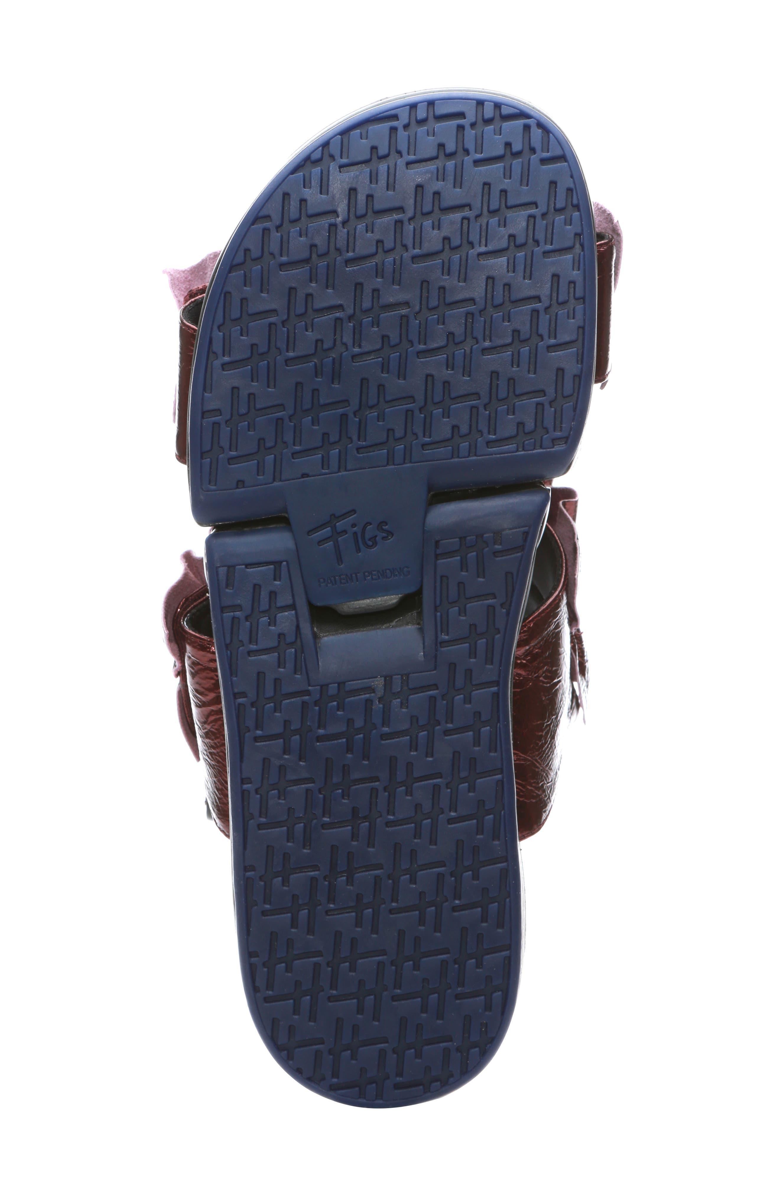 Figulous Ruffle Sandal,                             Alternate thumbnail 6, color,                             BORDEAUX METALLIC LEATHER