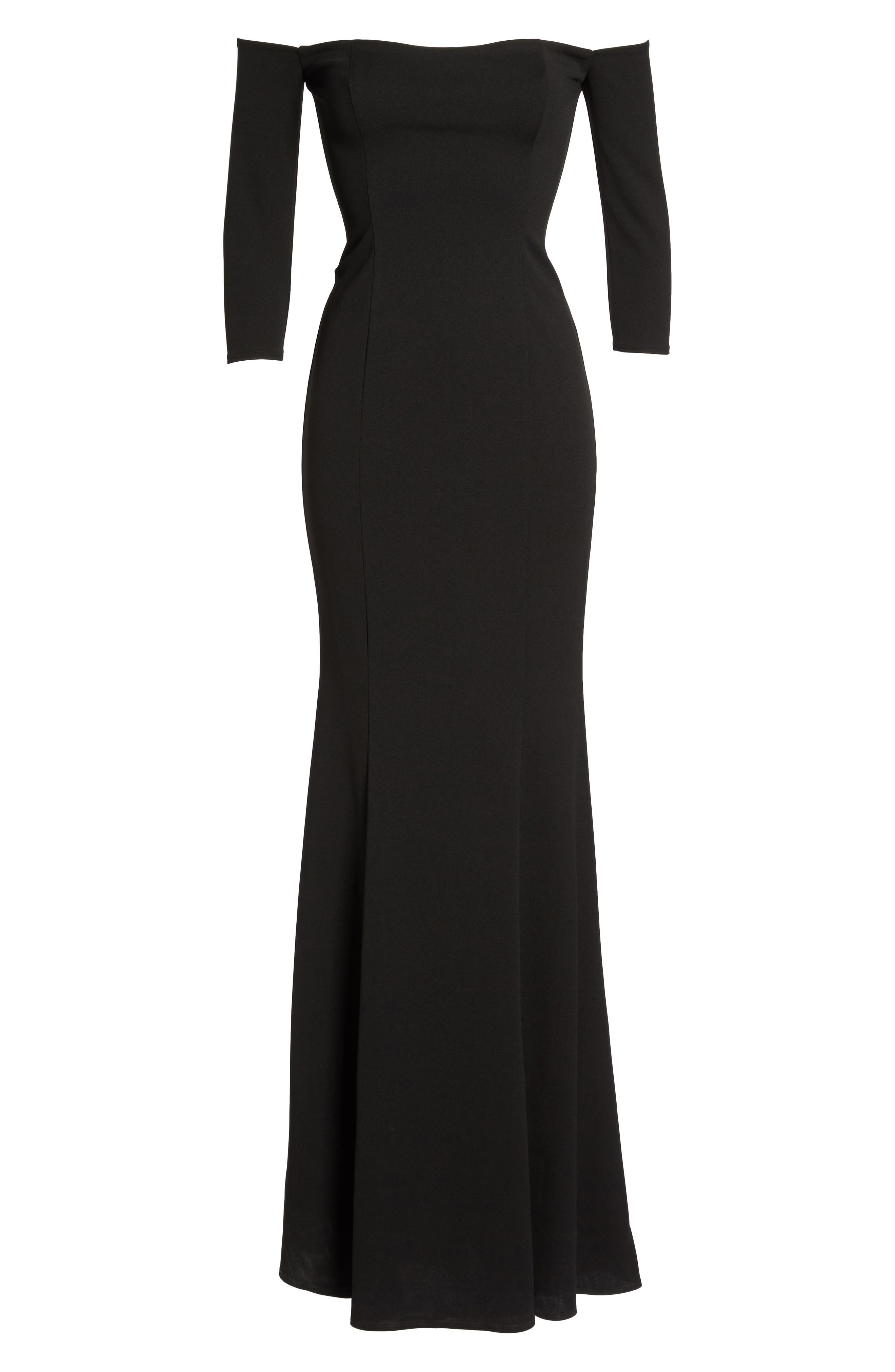 Brentwood Three-Quarter Sleeve Off the Shoulder Gown,                             Alternate thumbnail 6, color,                             BLACK