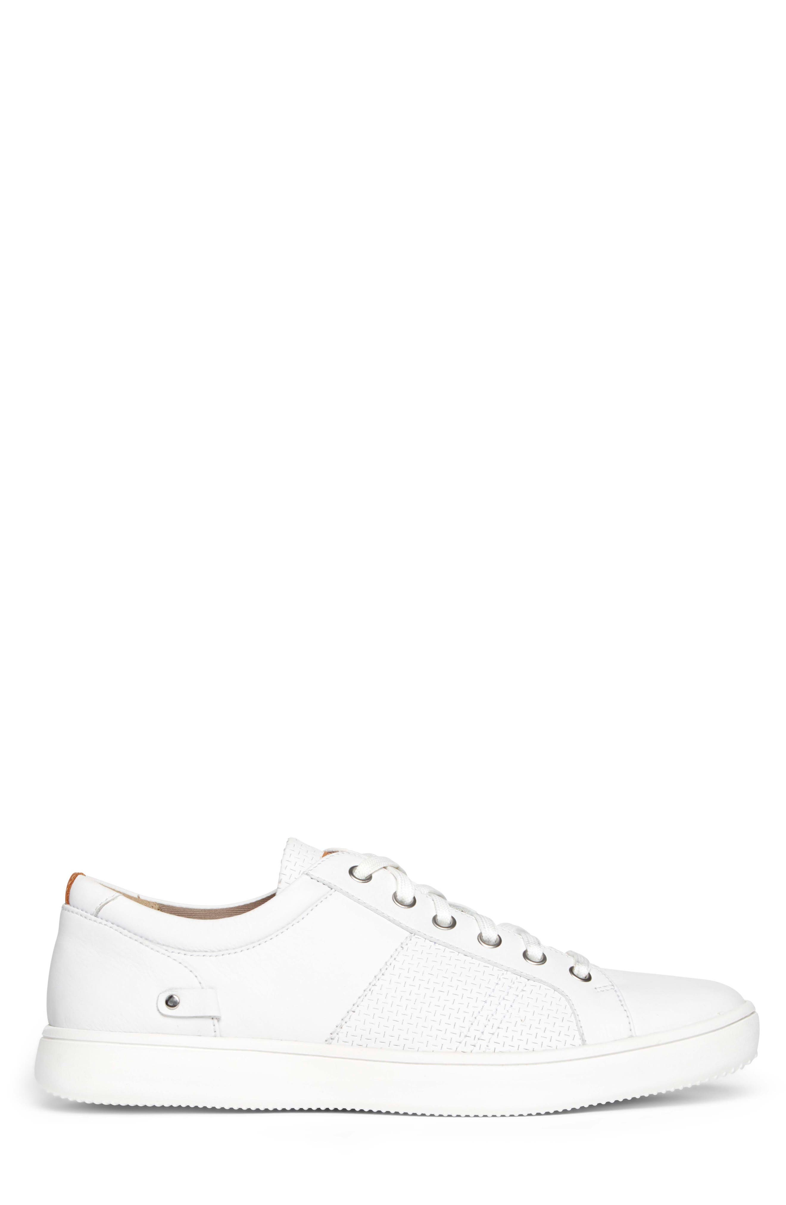 College Textured Sneaker,                             Alternate thumbnail 3, color,                             WHITE LEATHER