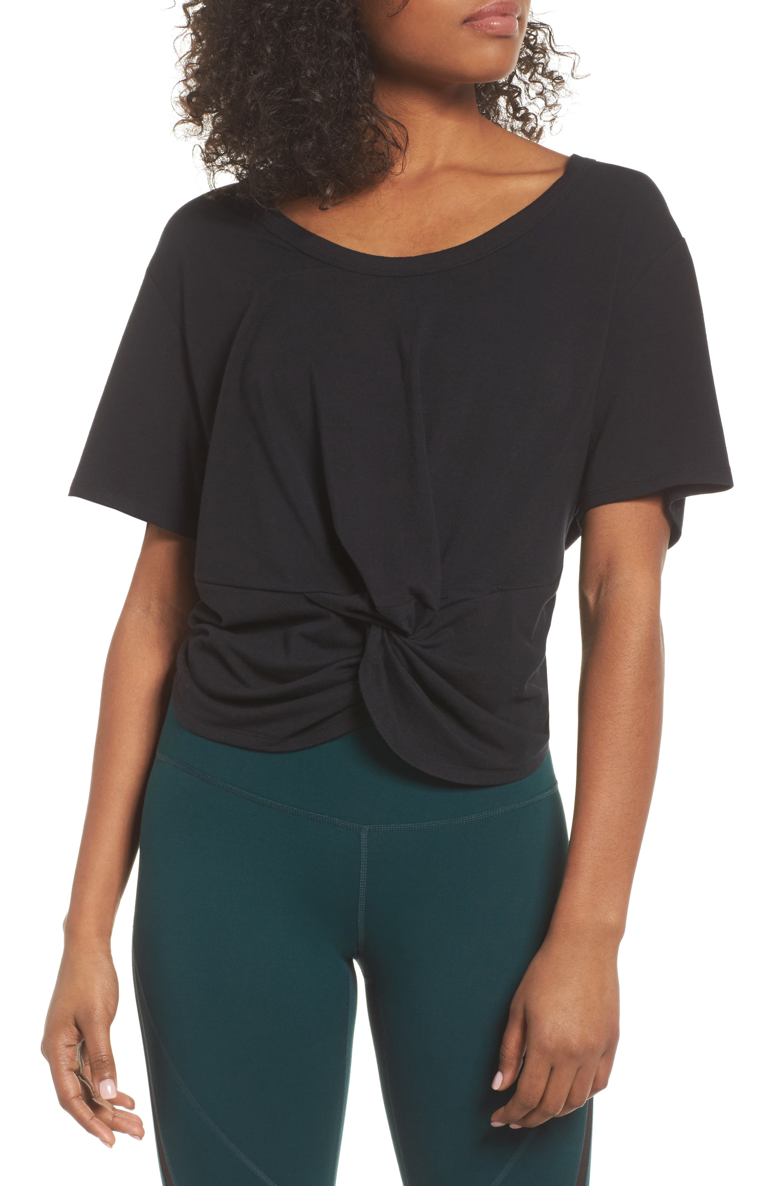 Knotty Crop Tee,                             Main thumbnail 1, color,                             001