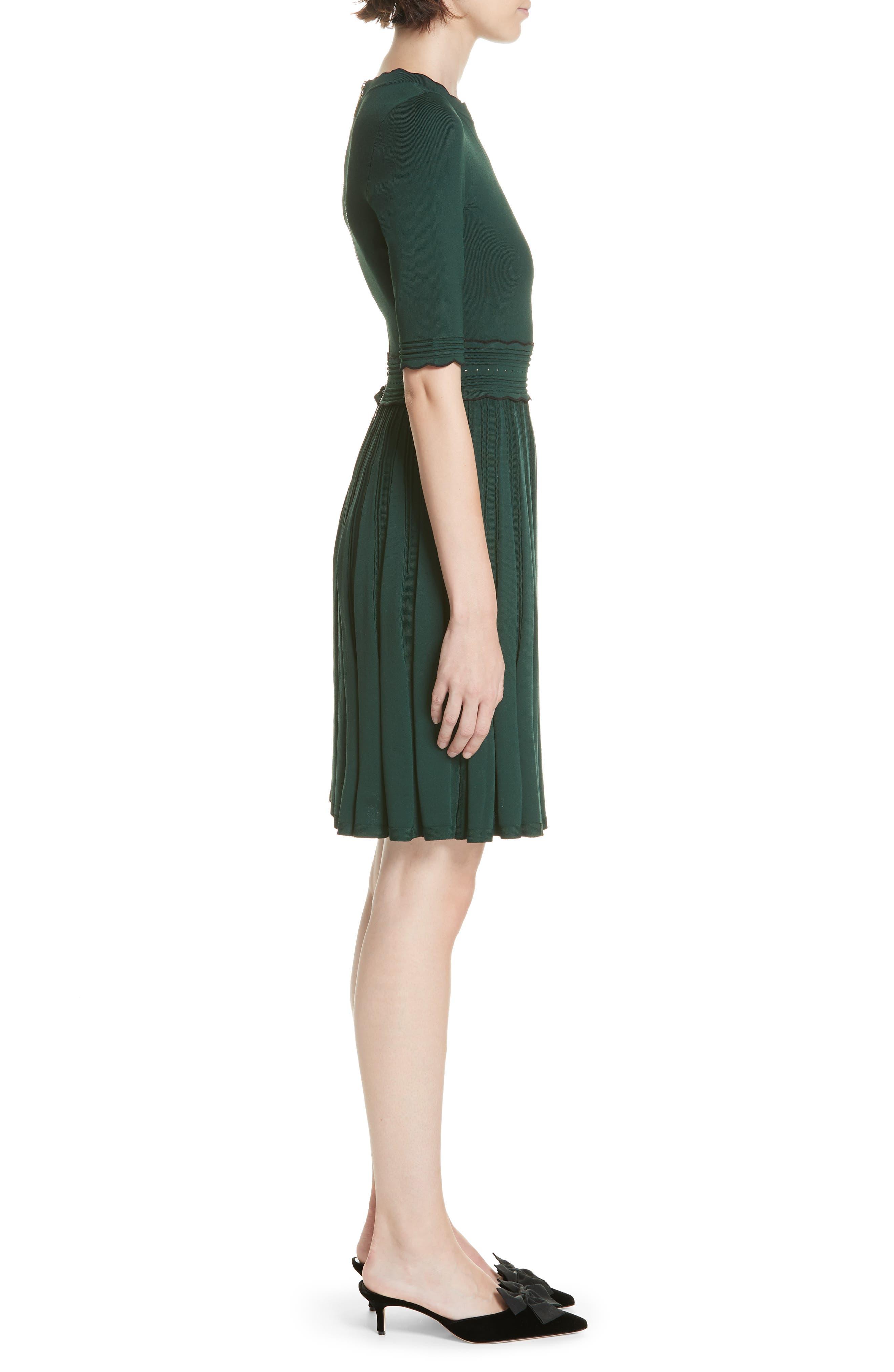 Dorlean Knit Dress,                             Alternate thumbnail 3, color,                             DARK GREEN